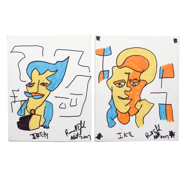 Two Ronald English Original Abstract Portrait Marker Drawings