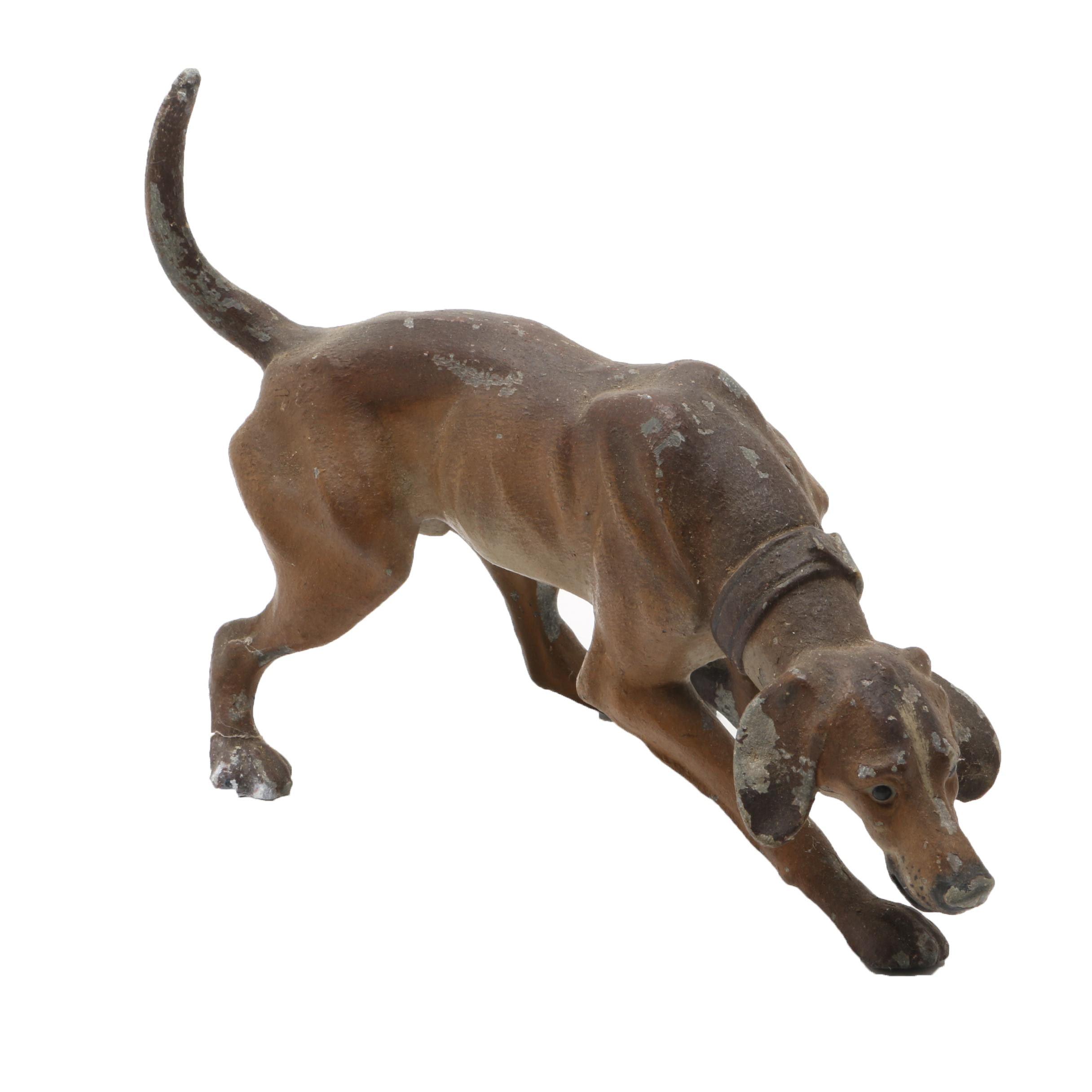 Vintage Cast Metal Hunting Dog Figurine