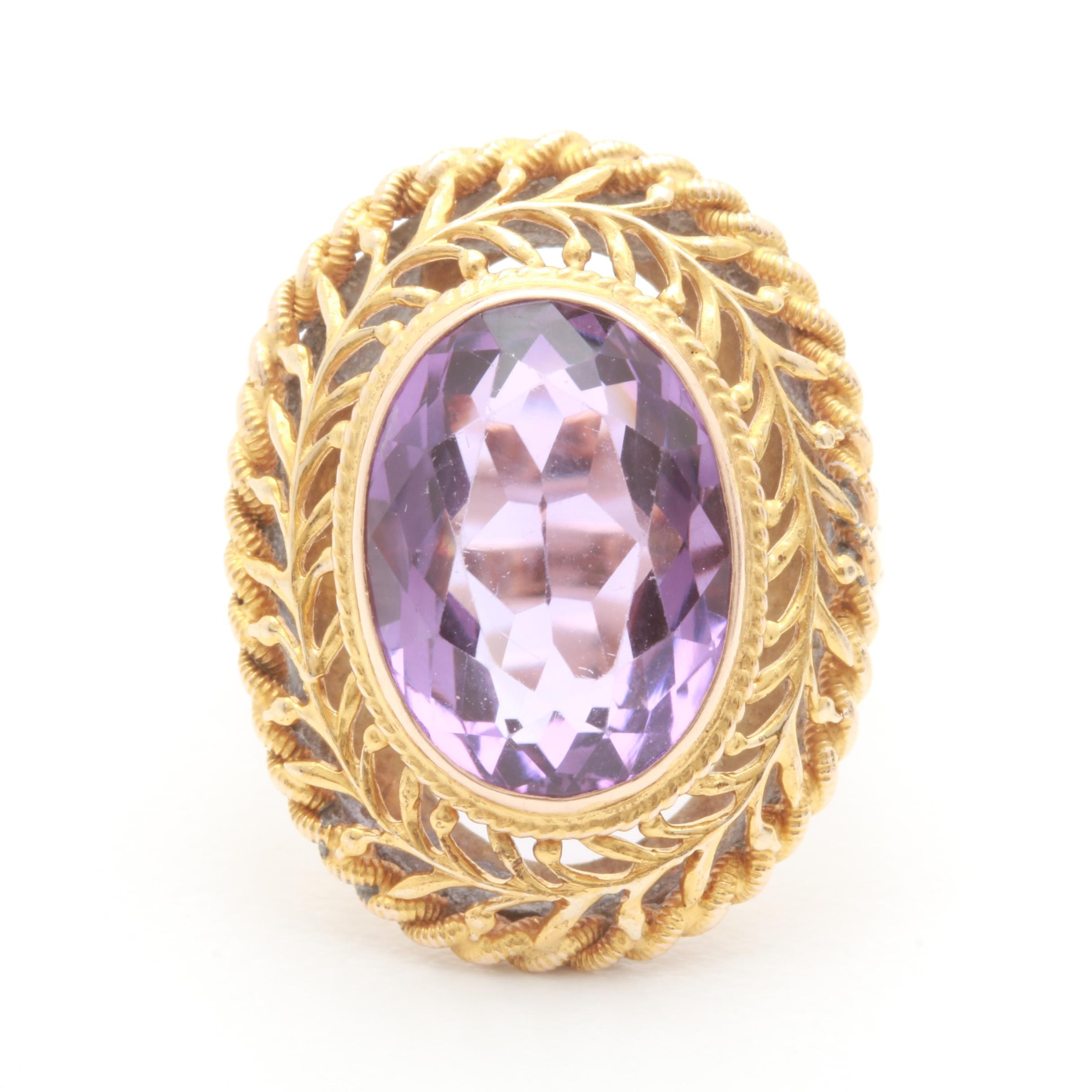 10K and 14K Yellow Gold Amethyst Ring