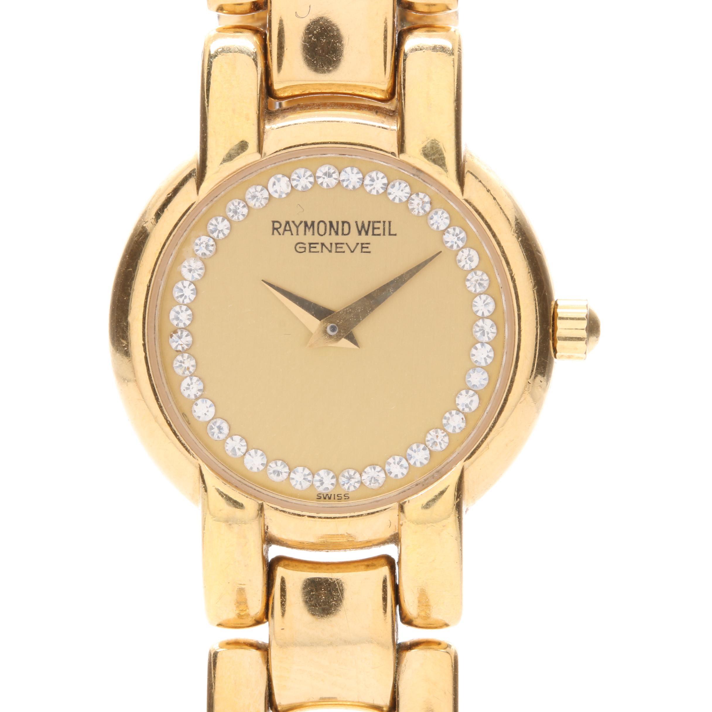 Raymond Weil Electroplated Gold Glass Crystal Wristwatch