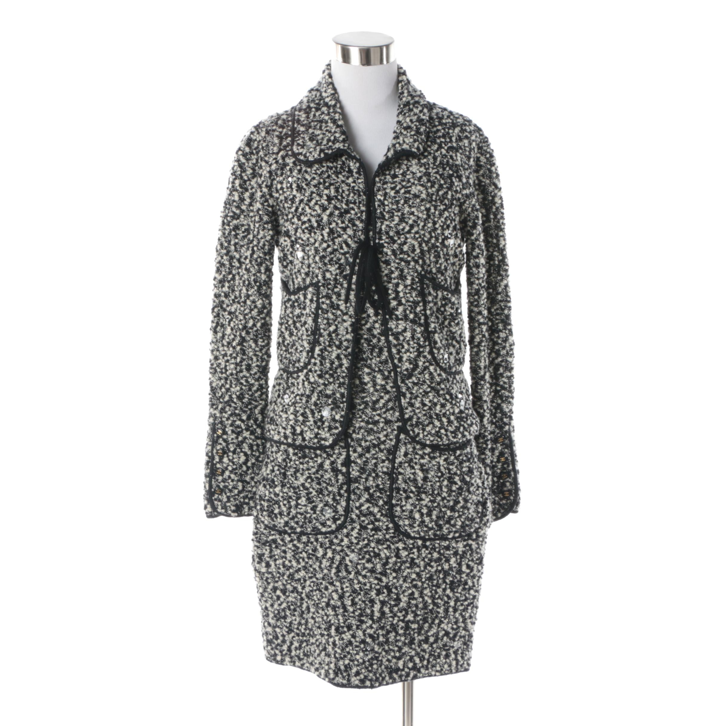 Chanel Black and White Bouclé Wool Dress Suit with Sequin Accents