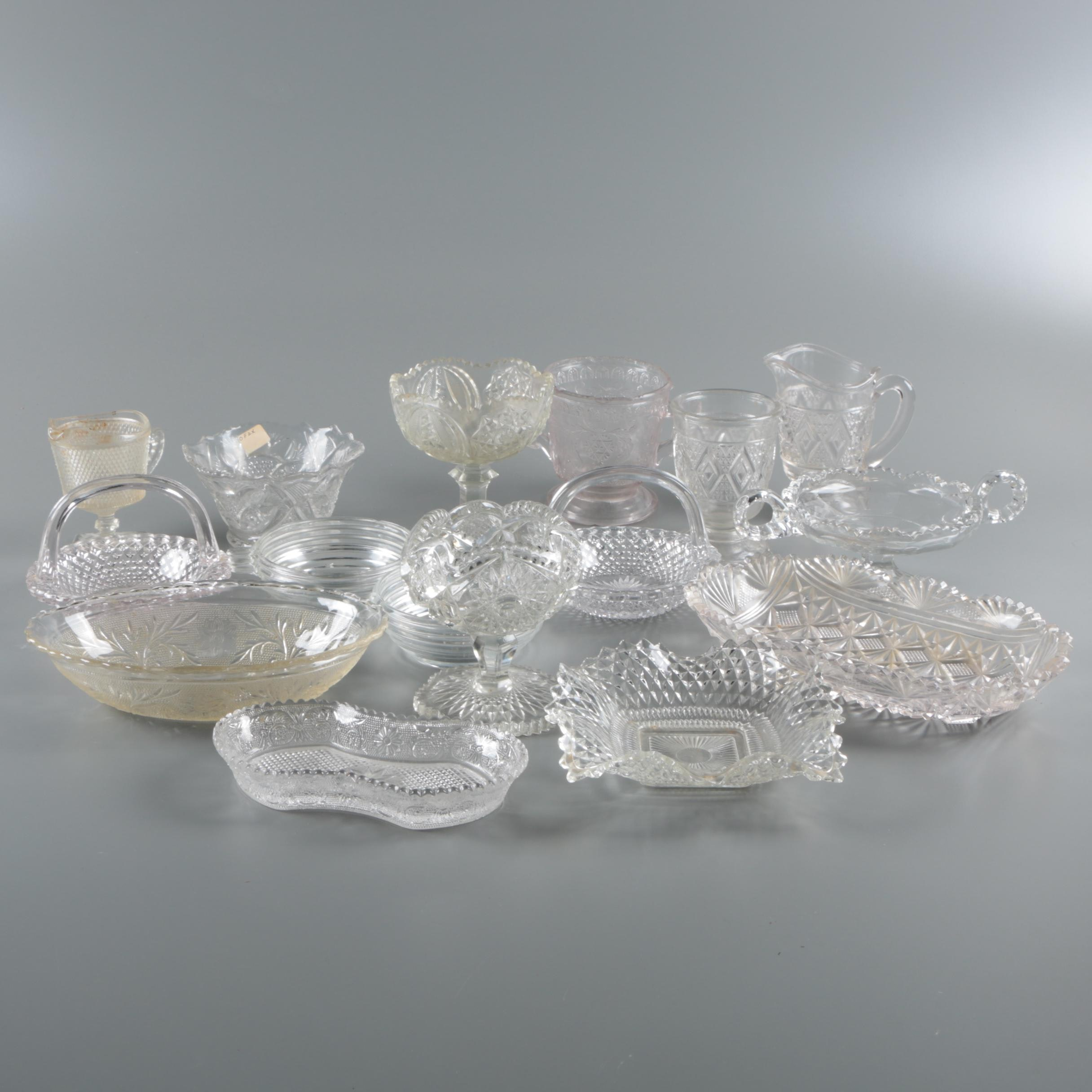 Antique and Vintage Pressed Glass Tableware