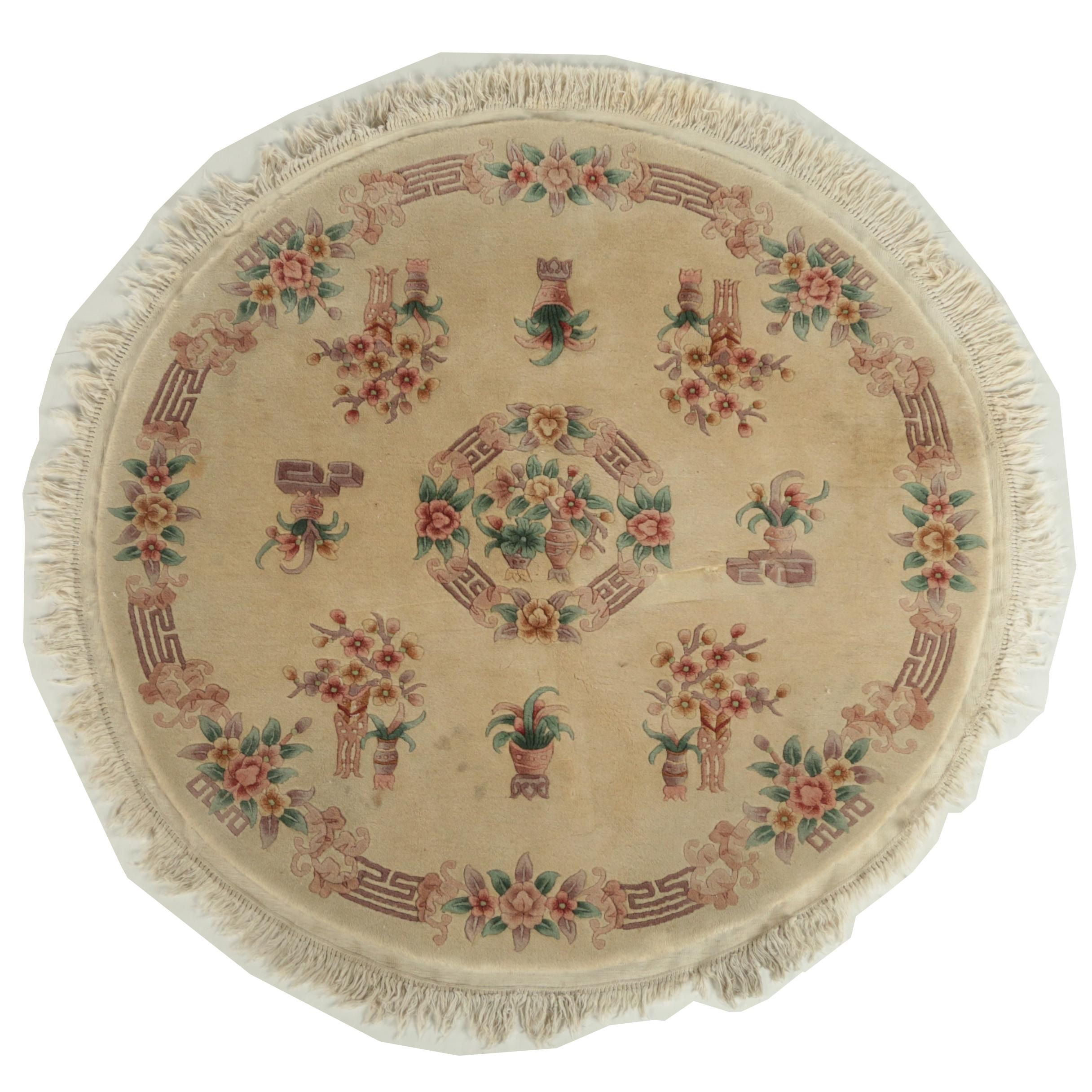 Hand-Knotted Chinese Carved Wool Round Area Rug