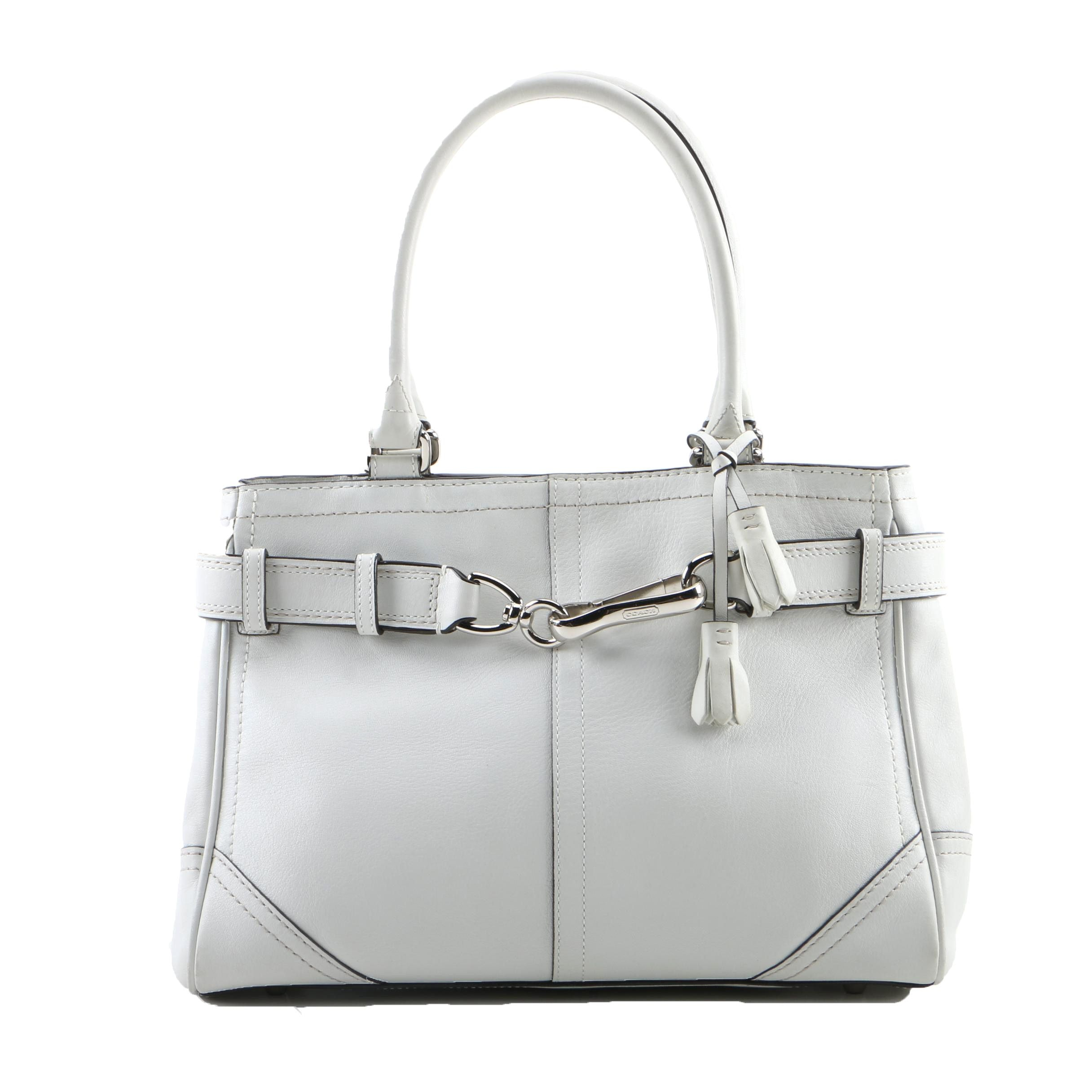 Coach Hampton White Leather Carryall Bag
