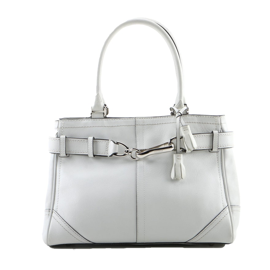 7dd6ae489541 Coach Hampton White Leather Carryall Bag   EBTH