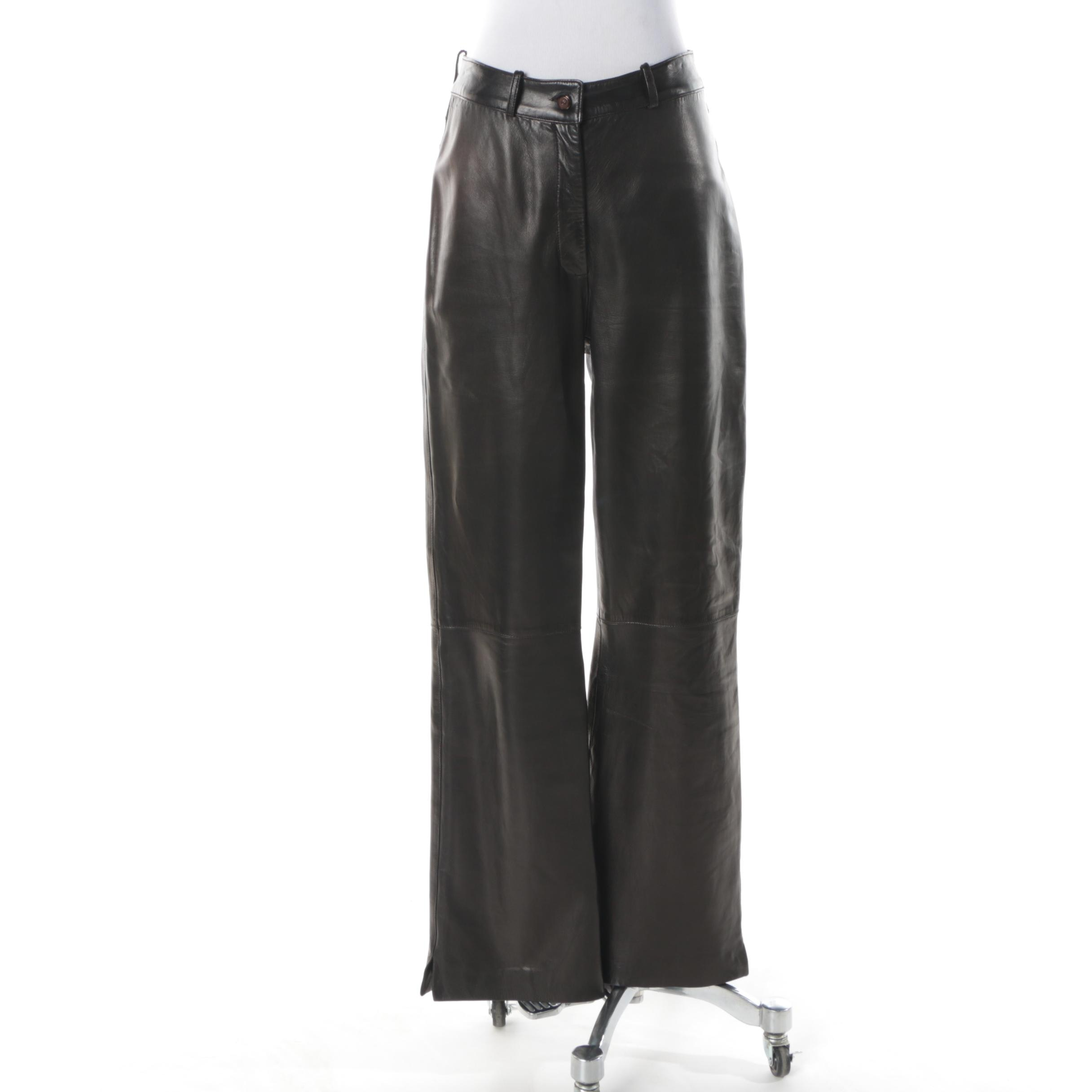 Women's St. John Couture Black Leather Trousers