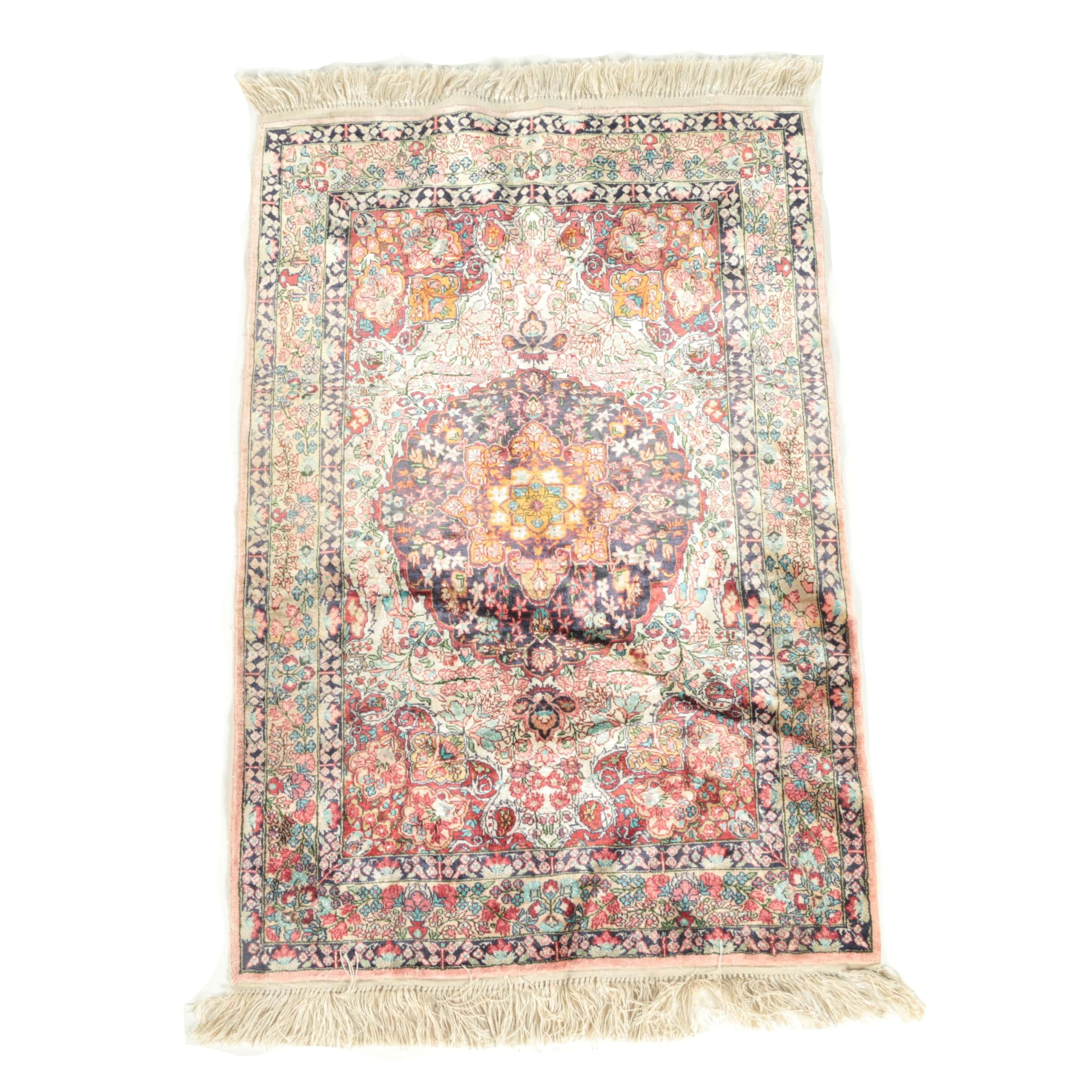 Finely Hand-Knotted Restored Turkish Hereke Silk Accent Rug