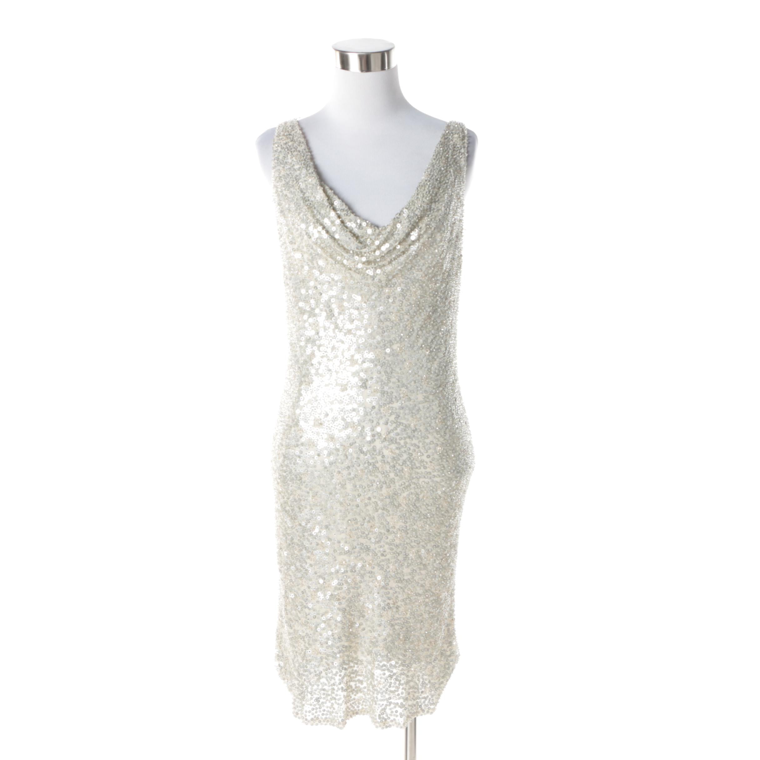 Carmen Marc Valvo Collection Champagne Silk and Silver Sequined Sleeveless Dress