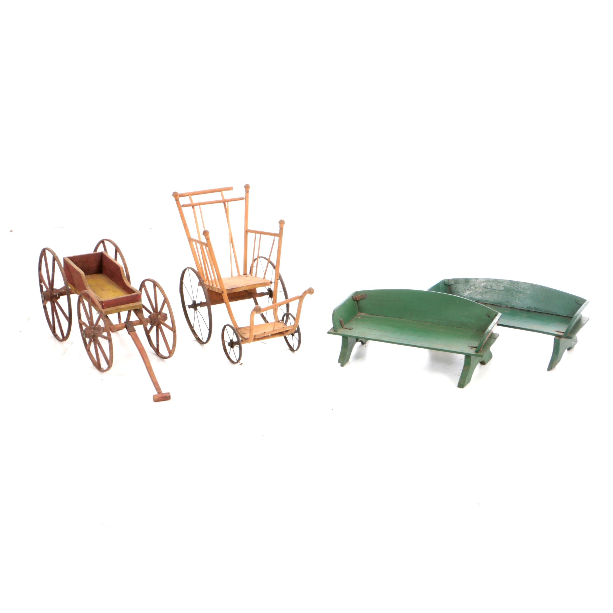 Antique Doll's Wagon and Stroller with Vintage Wagon Seats