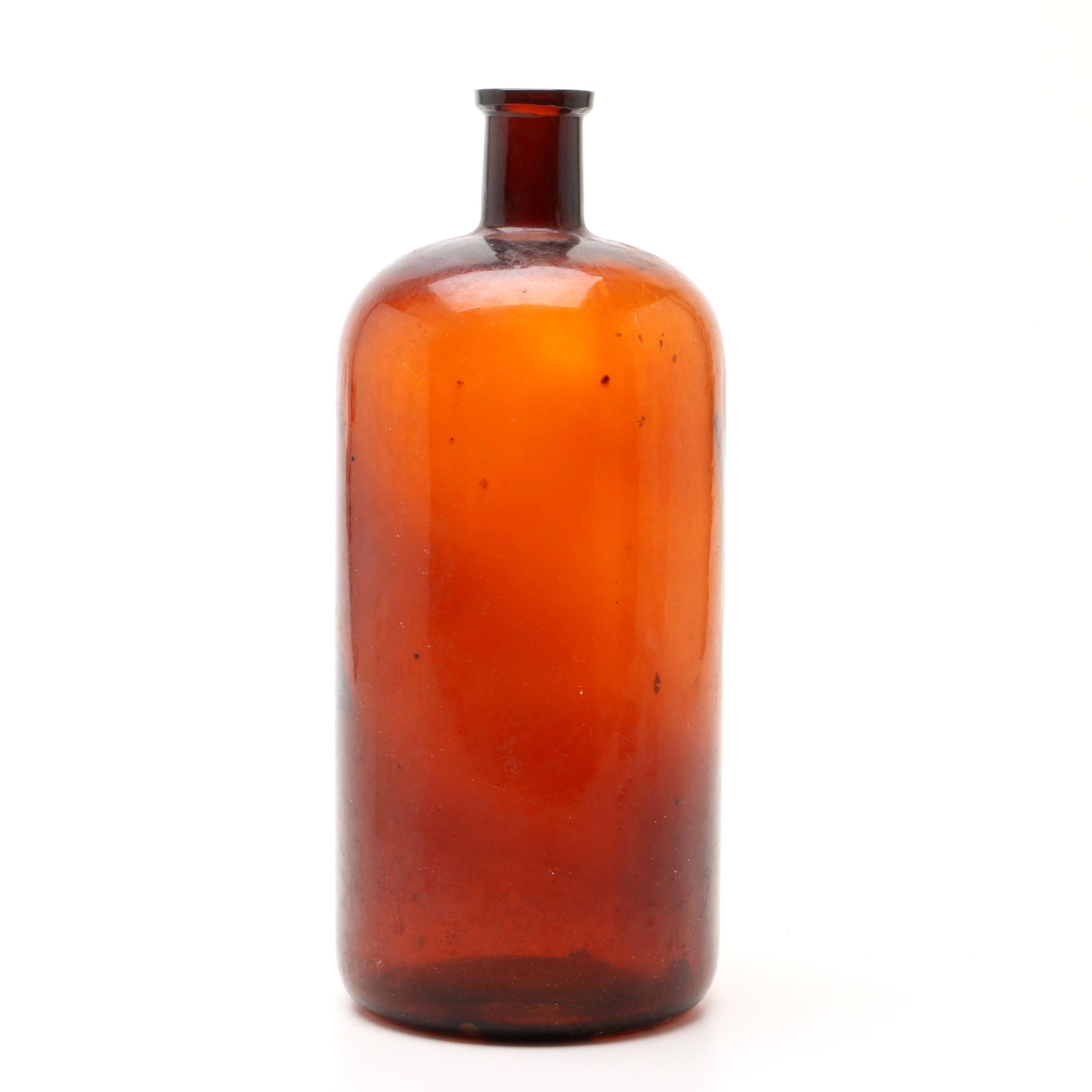 Large Antique Amber Glass Bottle