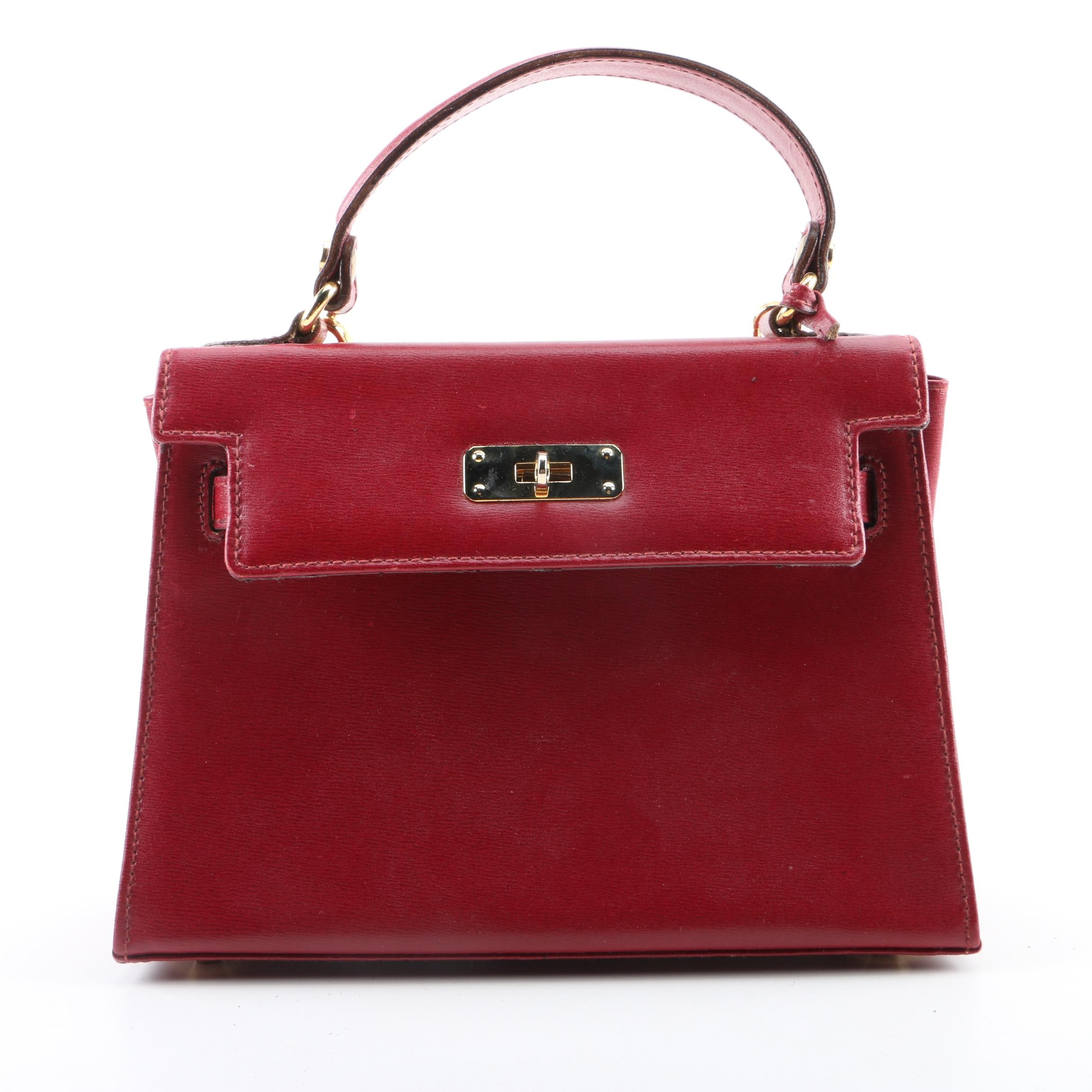 Vintage Aleda Red Leather Satchel, Made in Italy