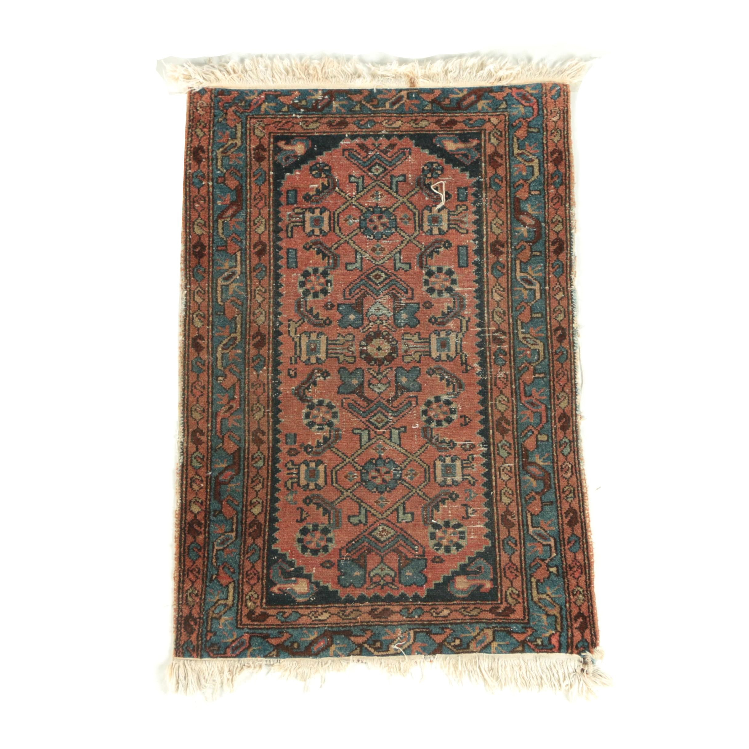 Antique Hand-Knotted Persian Malayer Wool Accent Rug