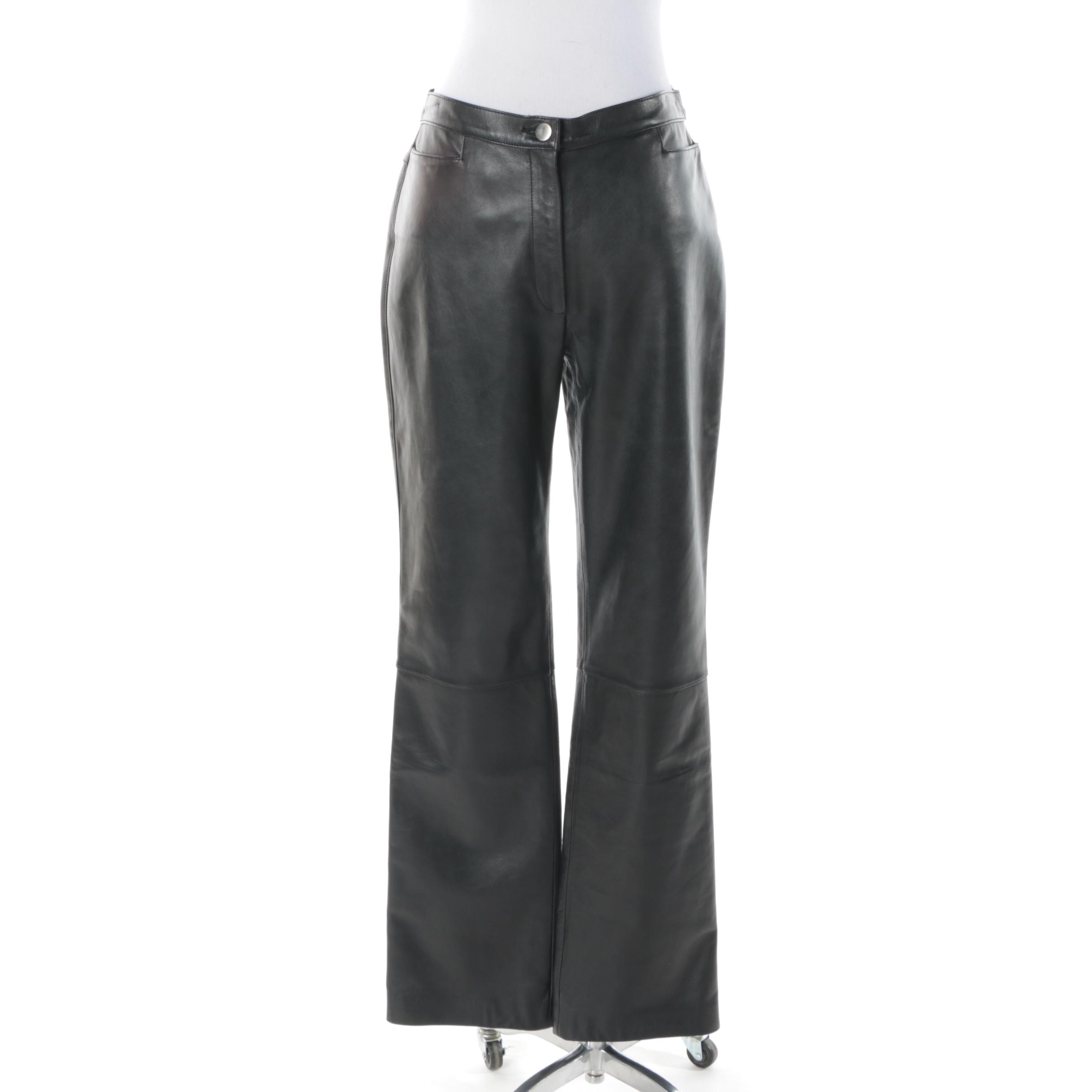 Women's Anne Klein 2 Black Leather Trousers