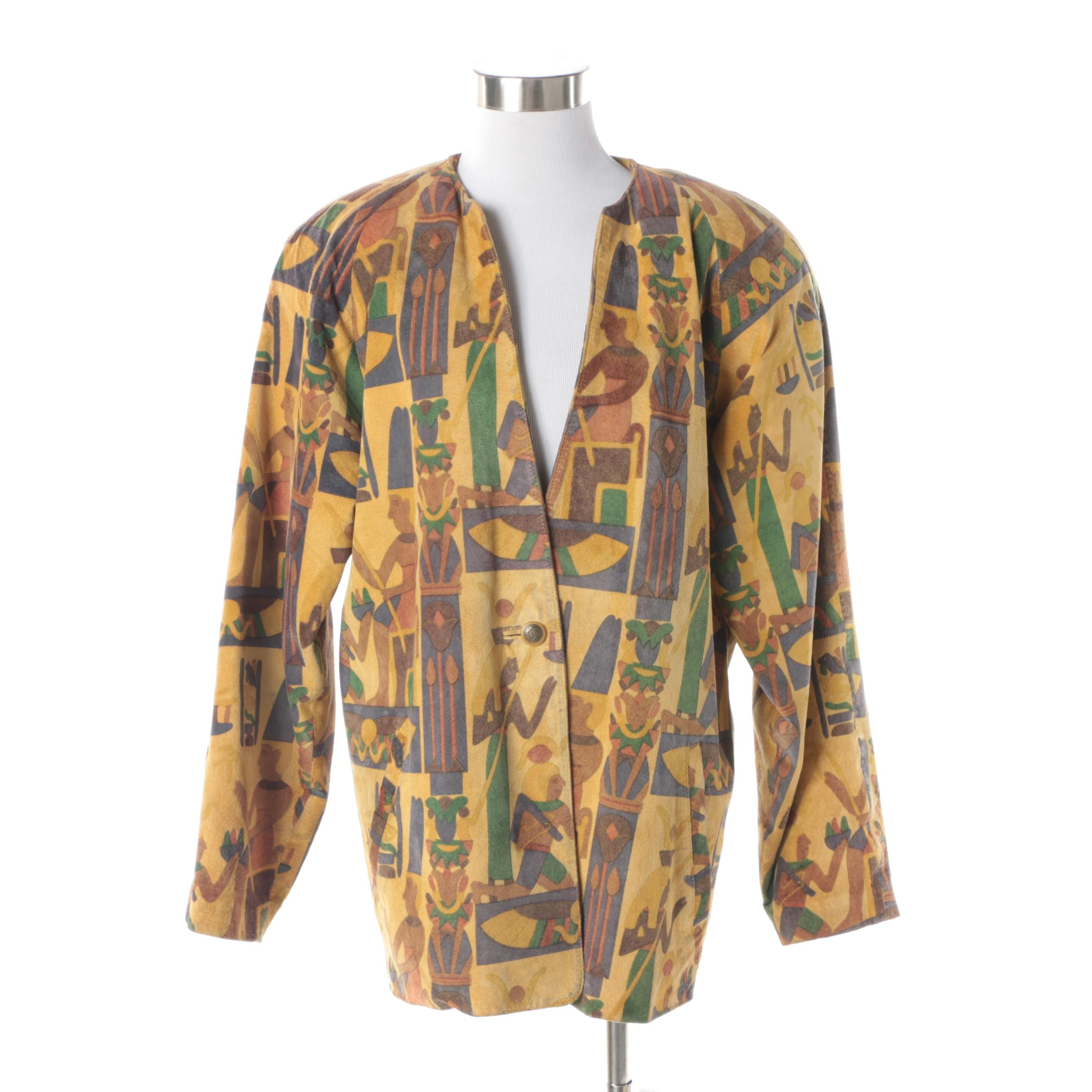 Women's 1990s Cayenne Multicolored Egyptian Print Suede Jacket