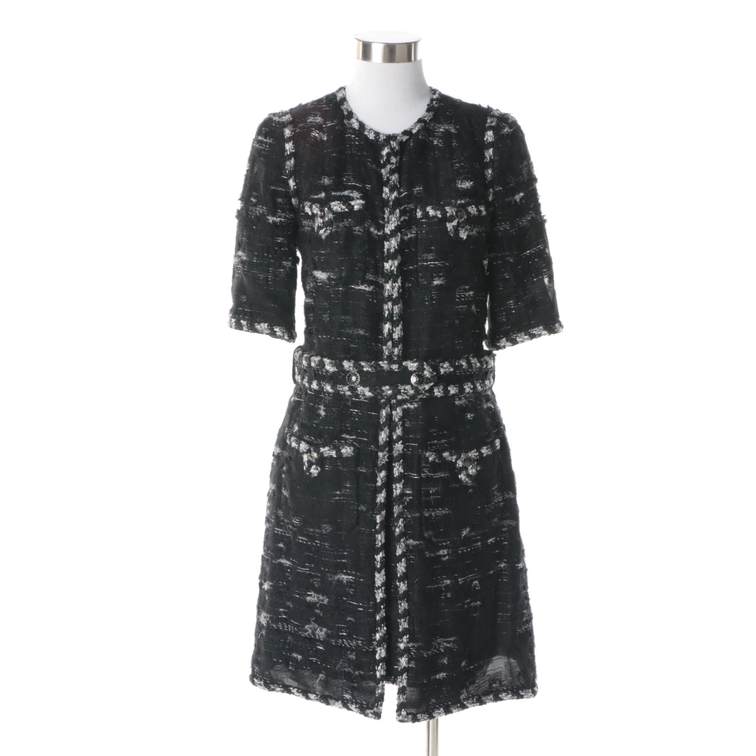 Chanel Black, Grey and Metallic Silver Silk Bouclé Tweed Ensemble