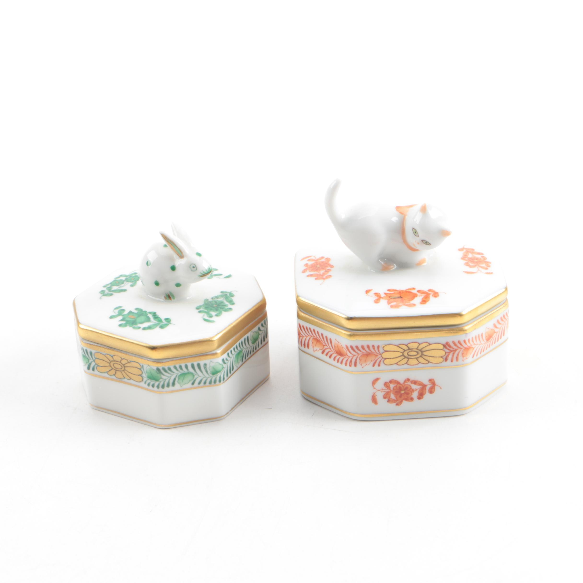 """Herend """"Chinese Bouquet"""" Porcelain Trinket Boxes with Cat and Rabbit Motif Lids"""