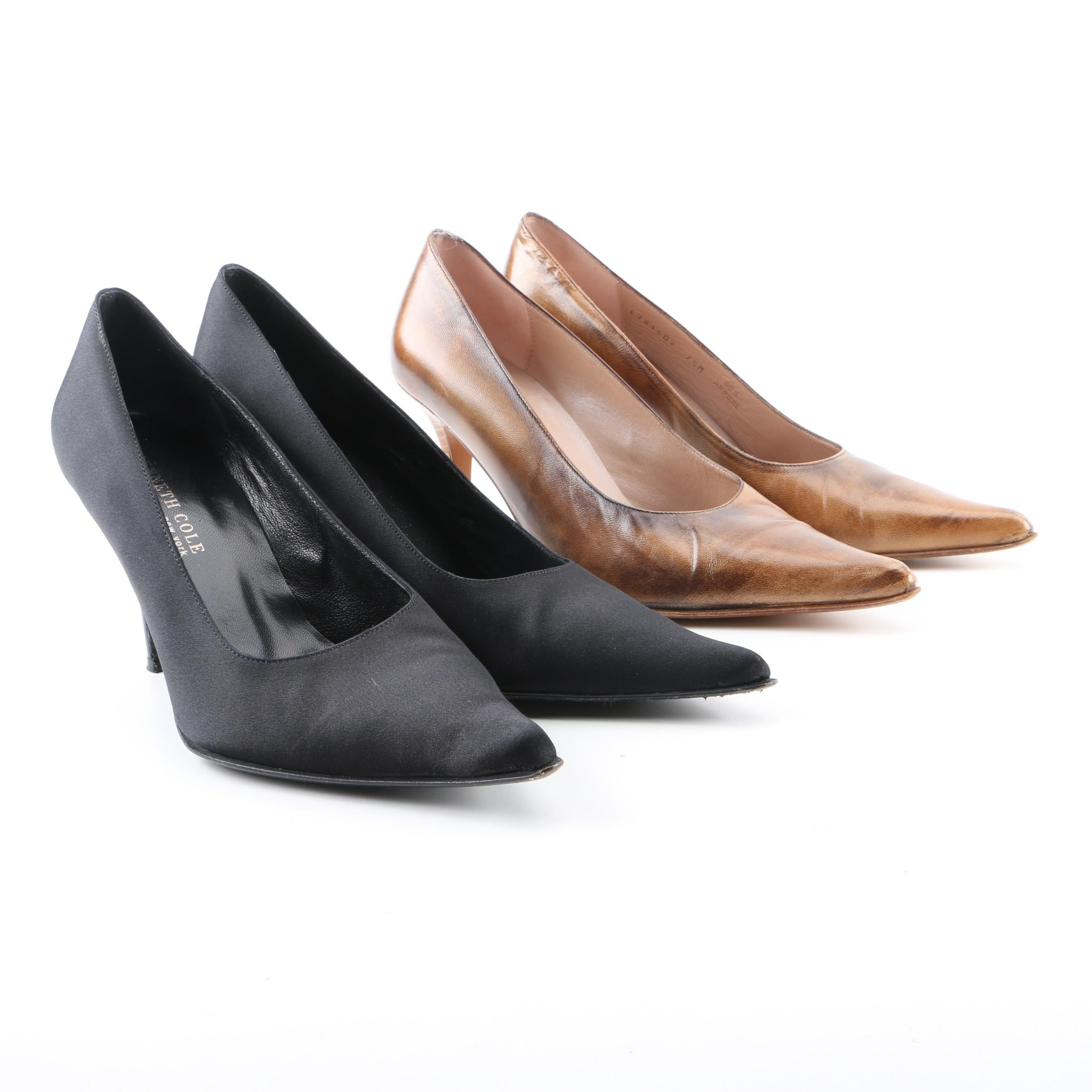 Kenneth Cole New York Brown Leather and Black Satin Pumps