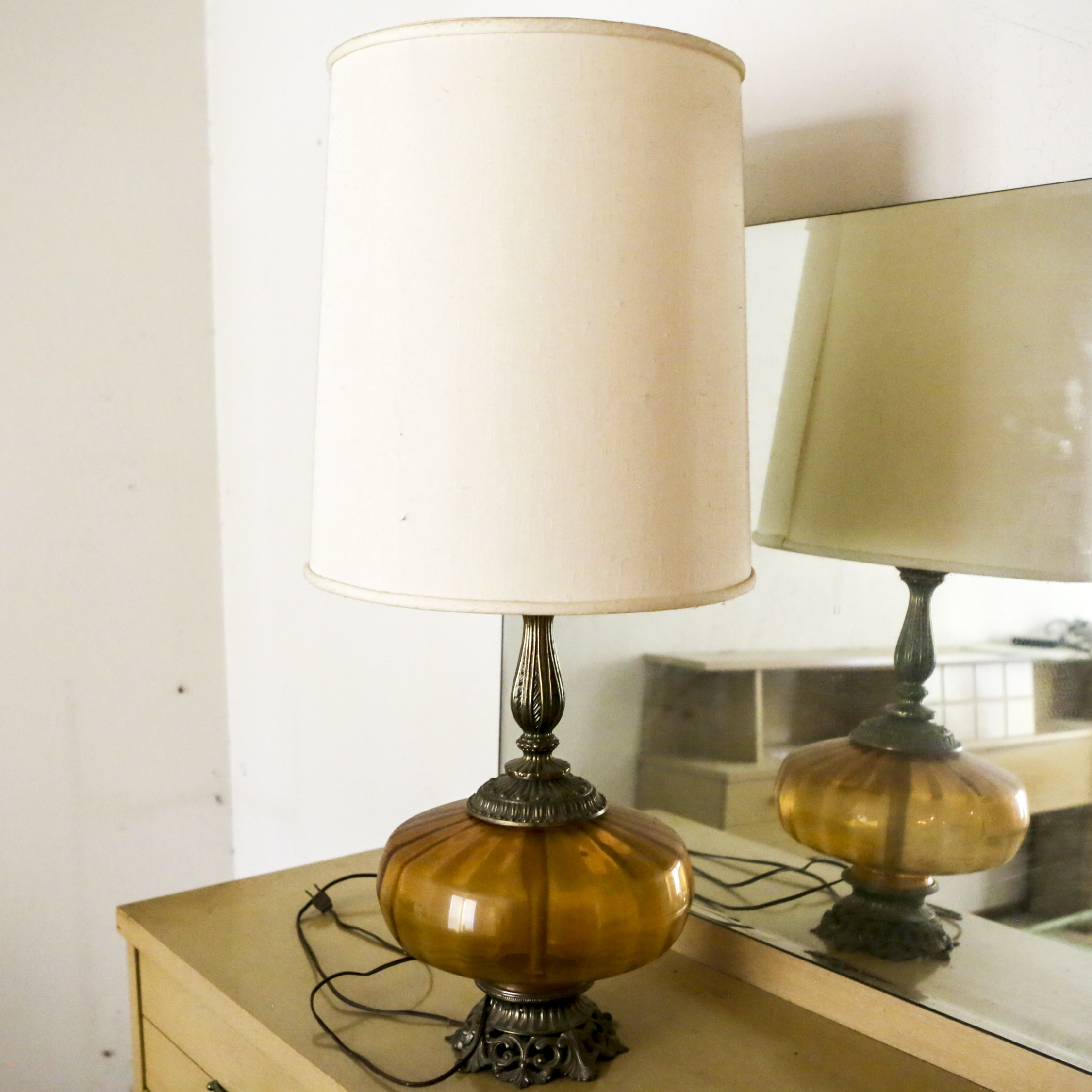 Vintage Glass and Metal Table Lamp