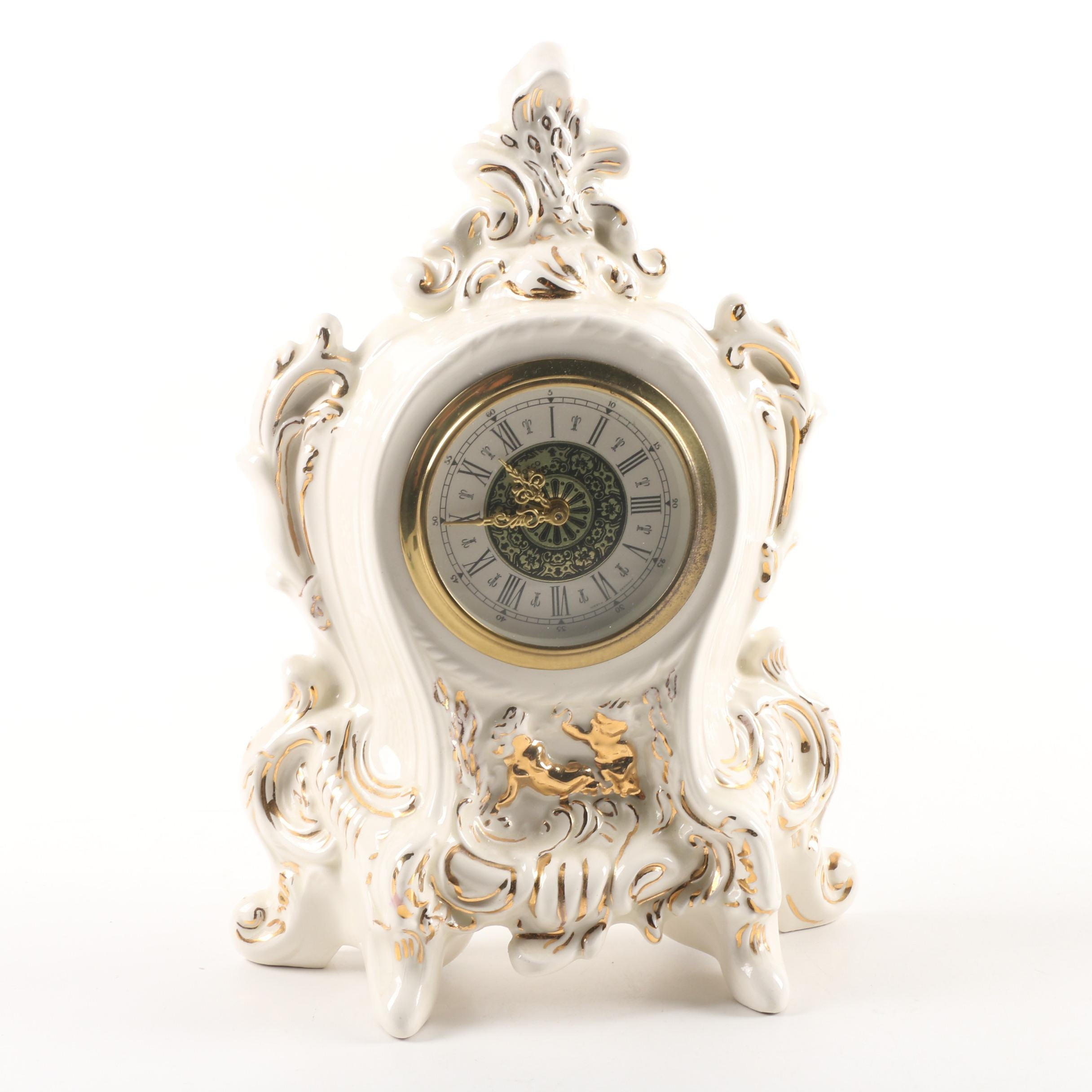 Vintage West German Porcelain Mantel Clock Attributed to Norco