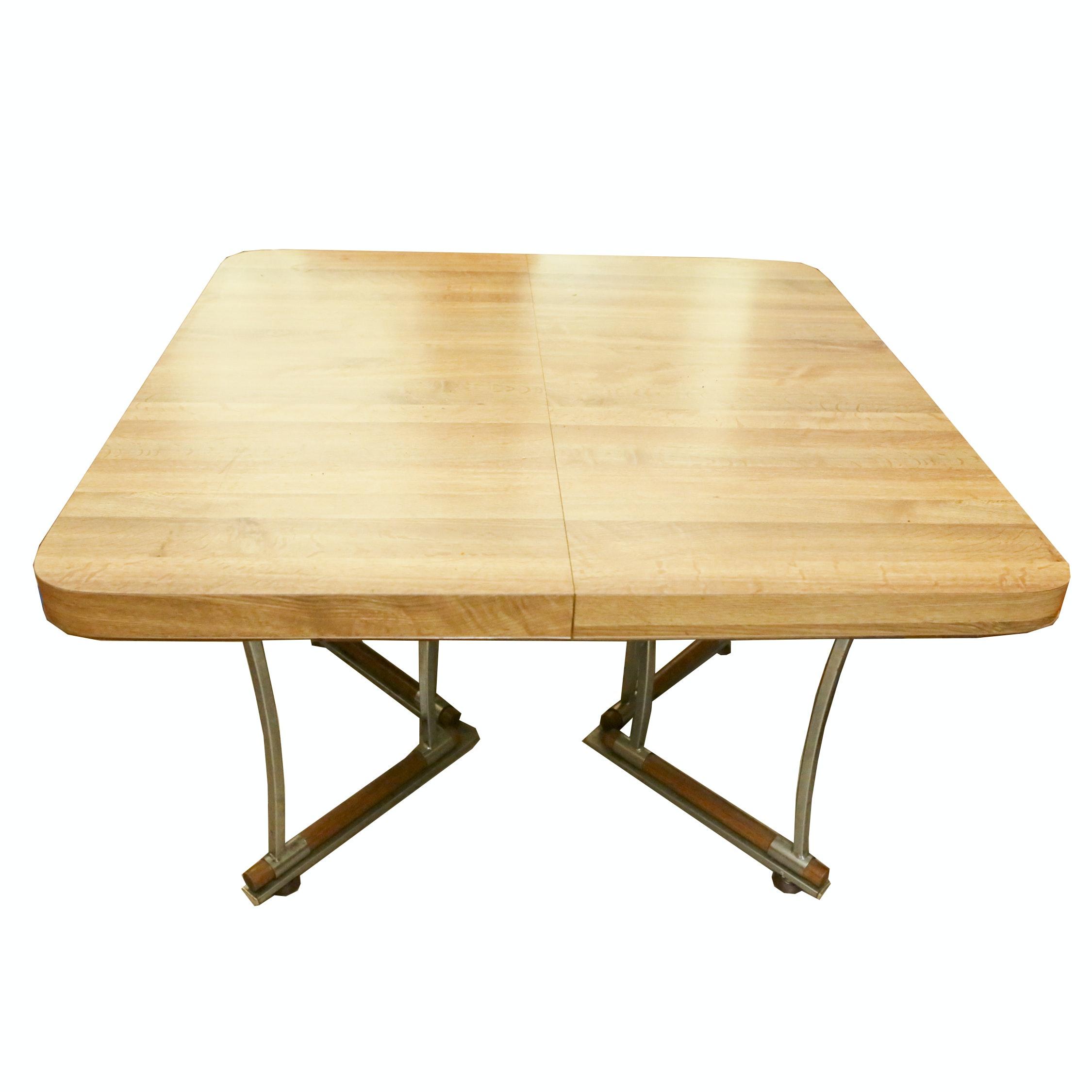 Vintage Wood Grain Laminate and Metal Dining Table