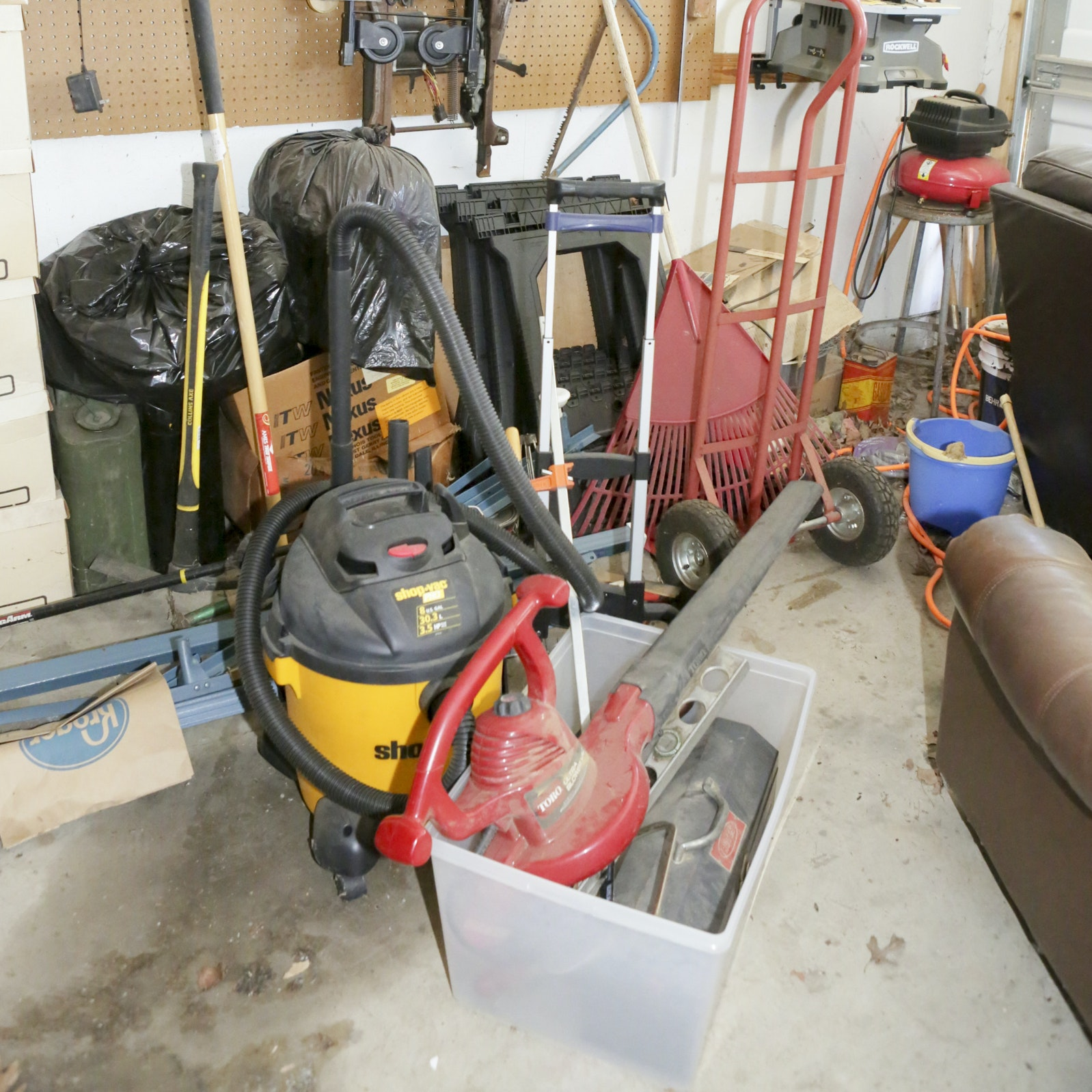 Shop Vac, Leaf Blower, Saw Horses and More