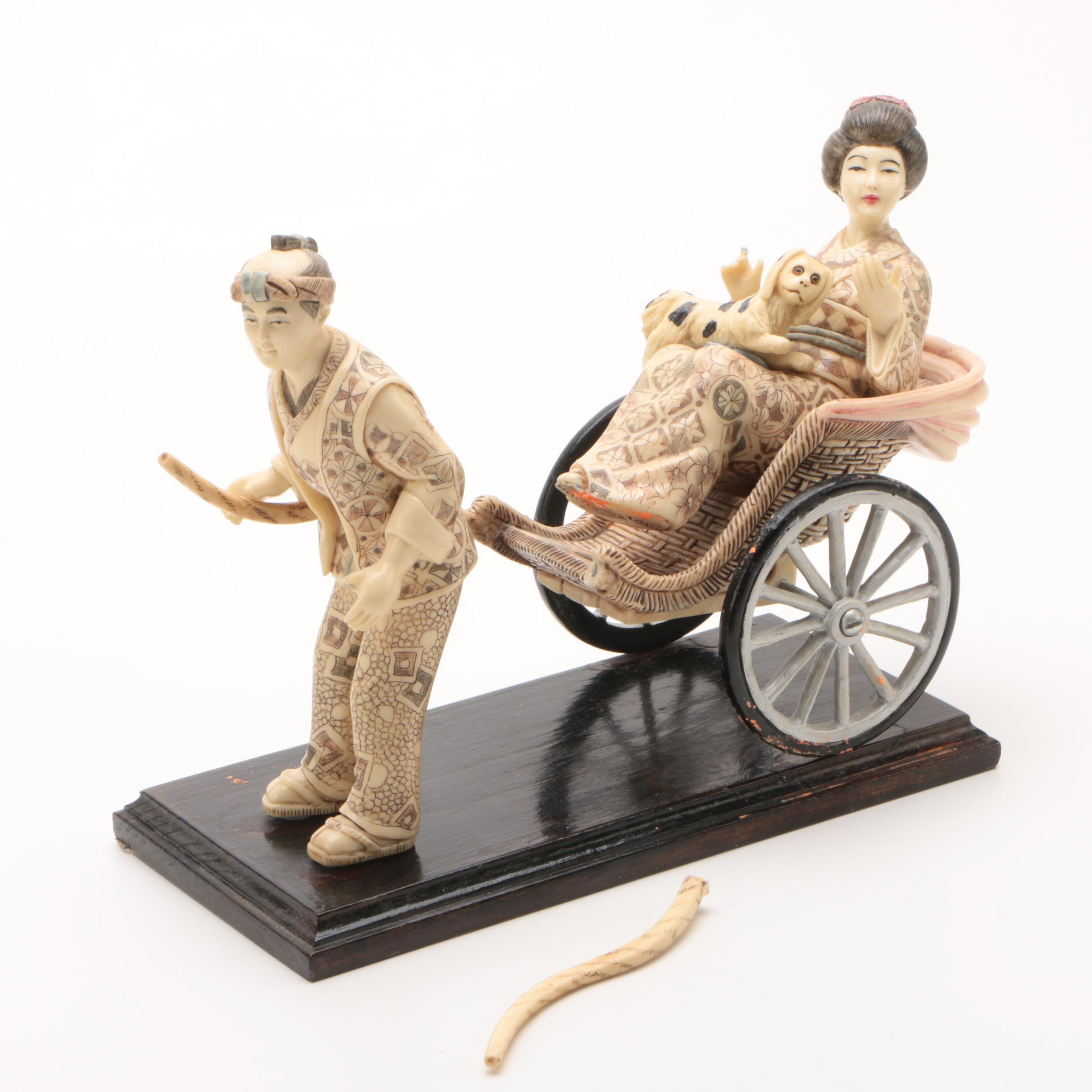 Japanese Cast Resin Rickshaw Figurine with Wooden Base