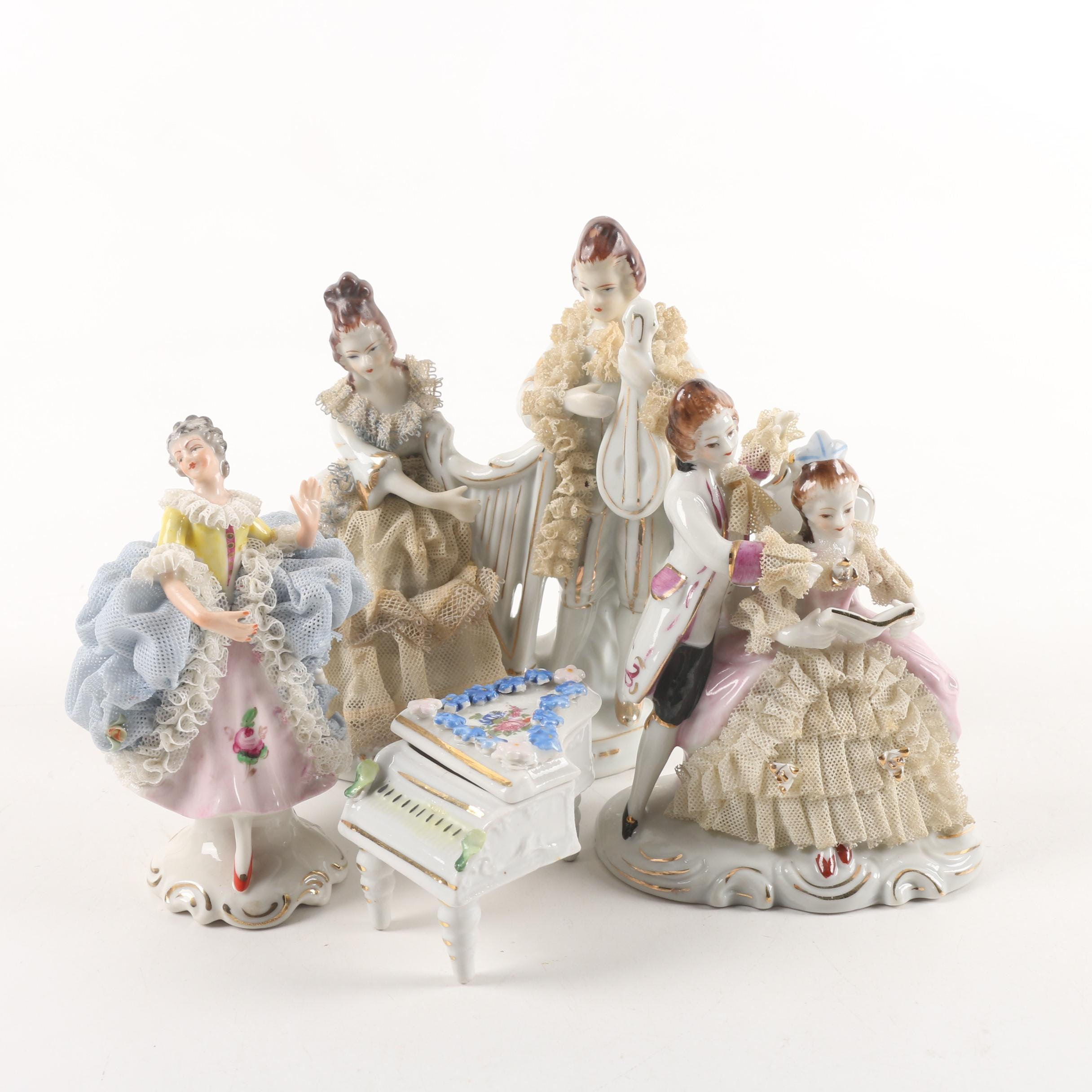 Dresden Lace Style Porcelain Figurines with Elfinware Pill Box