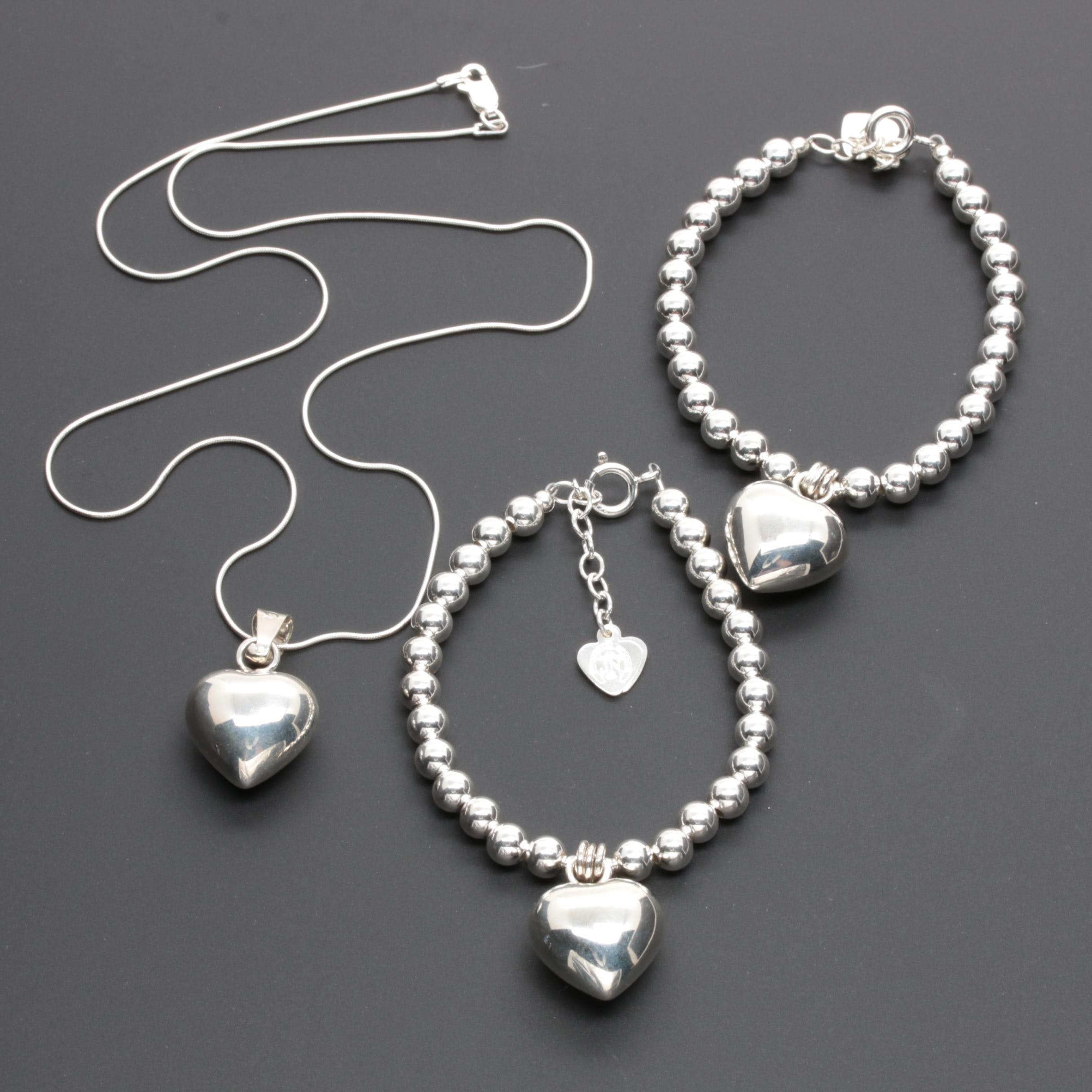 Sterling Silver Puffed Heart Charm Necklace and Matching Beaded Bracelets