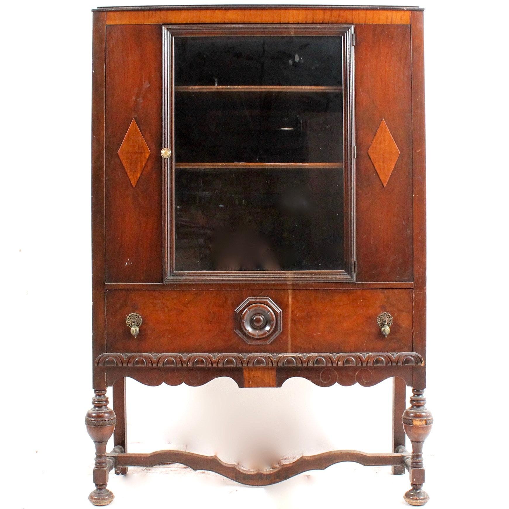 Vintage Carved Wood Display Cabinet