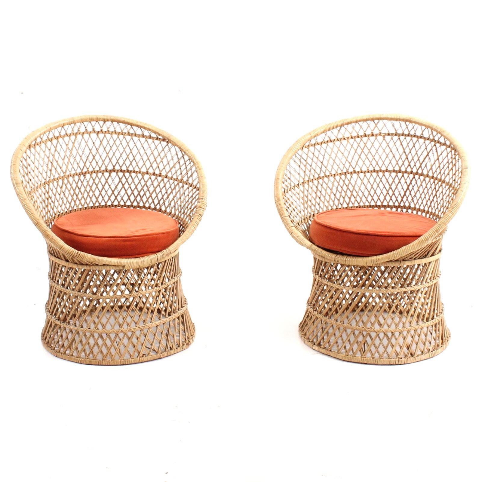 Two Mid Century Rattan Accent Chairs