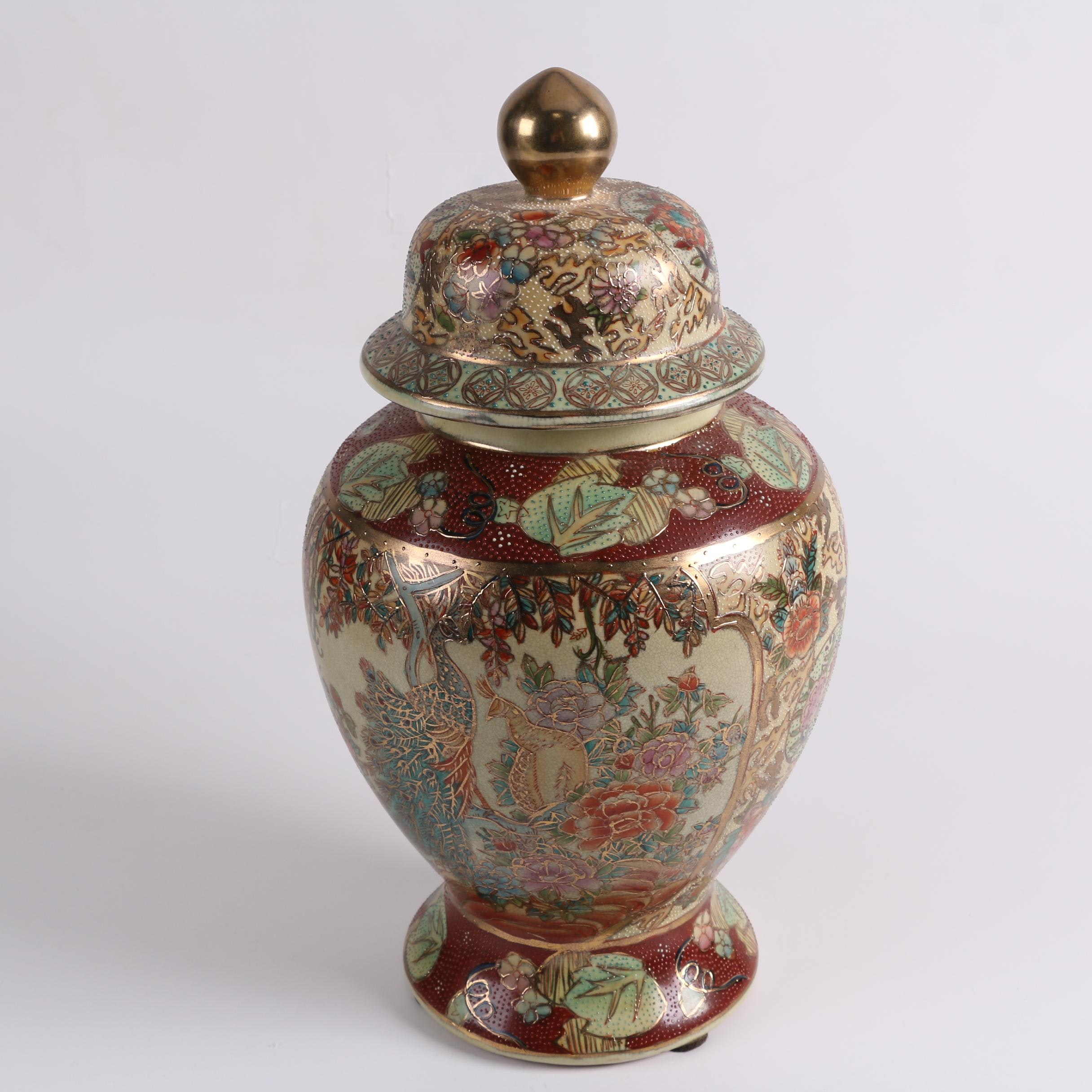 Chinese Satsuma Style Lidded Ceramic Urn with Gilt Accents
