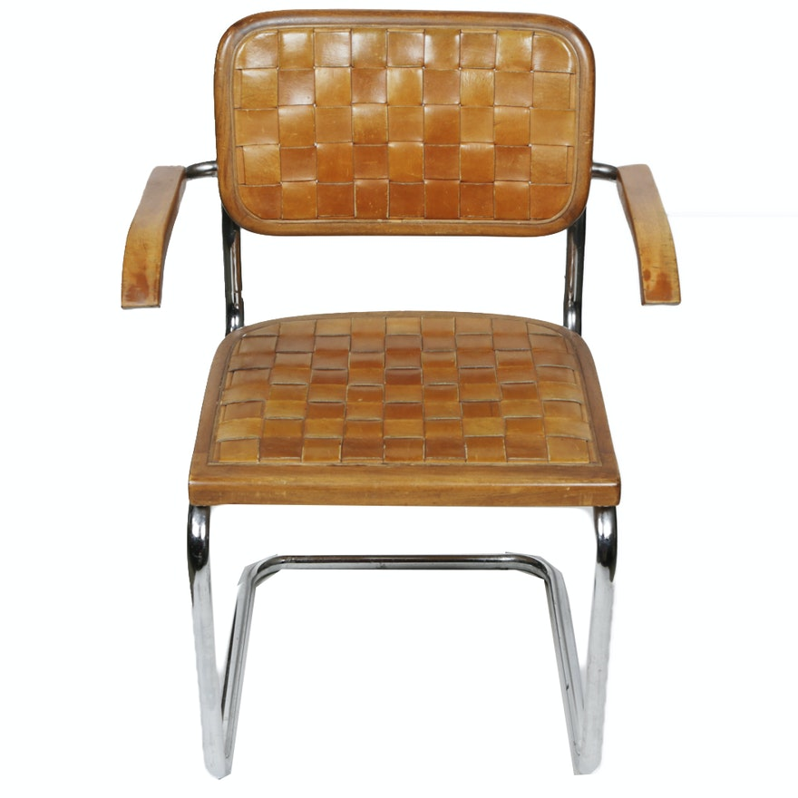 Awesome Vintage Mid Century Modern Leather And Metal Armchair By Chromecraft Machost Co Dining Chair Design Ideas Machostcouk