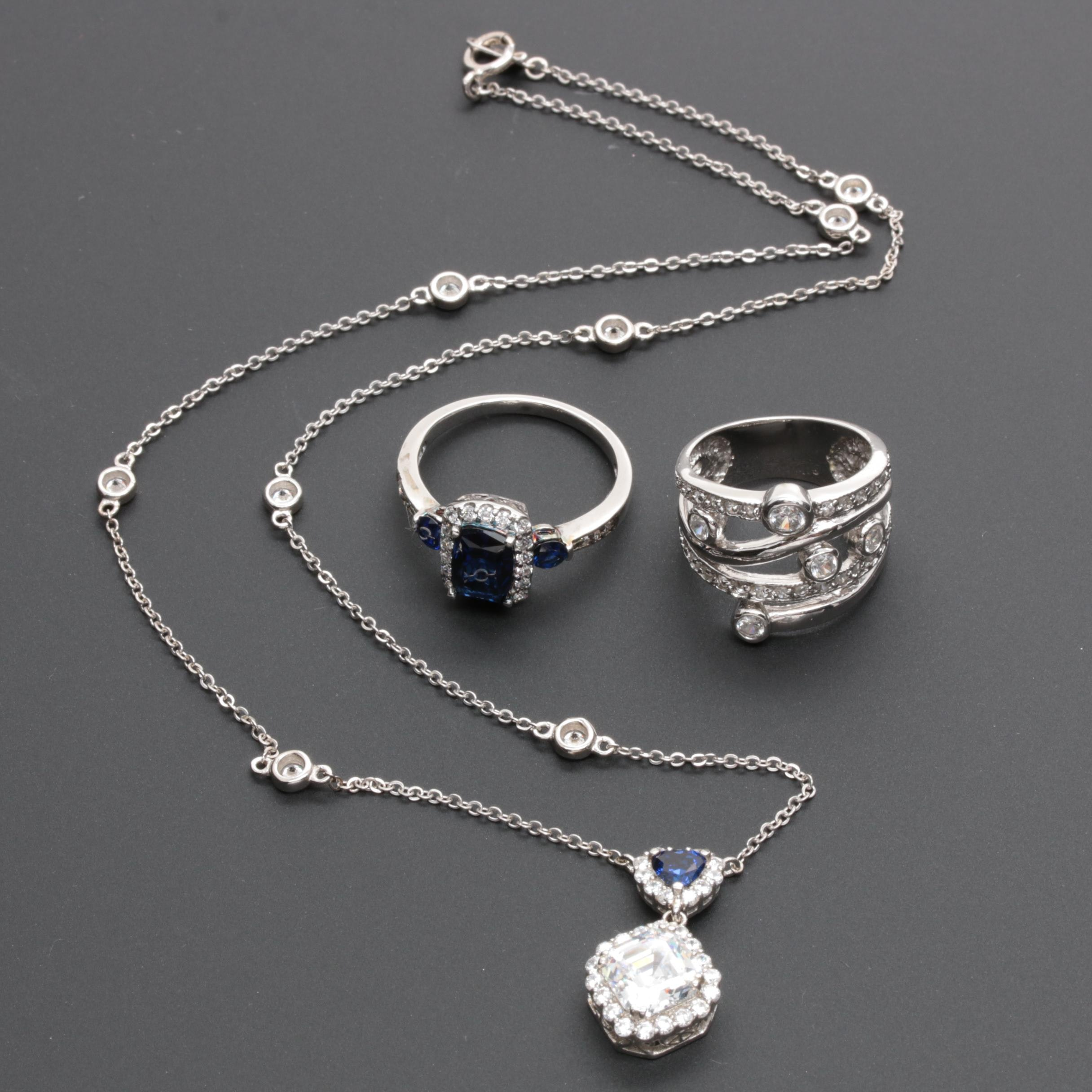 Sterling Silver Assorted Jewelry with Synthetic Blue Sapphire and Cubic Zirconia