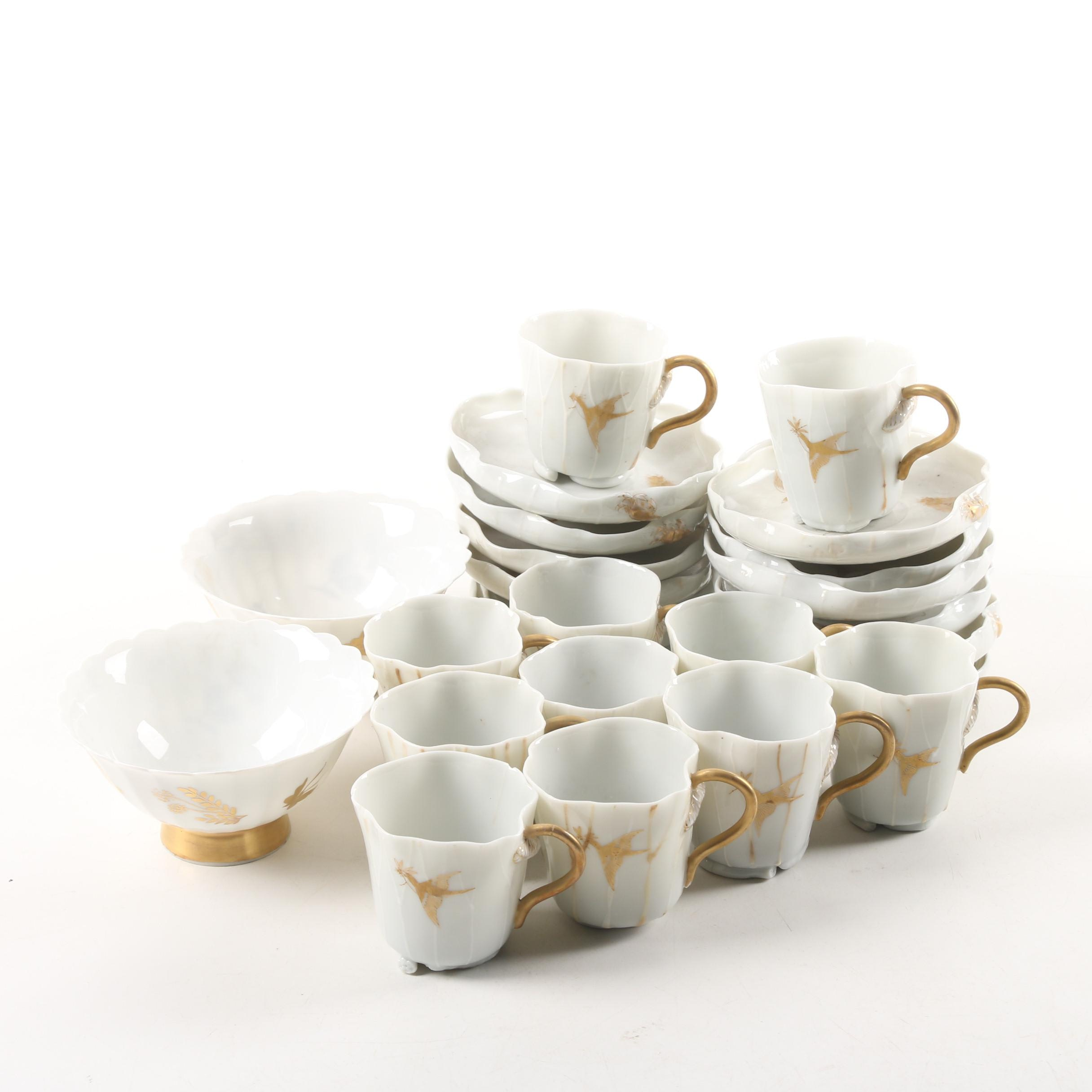 Vintage Handcrafted Porcelain Cups, Saucers, and Footed Bowls