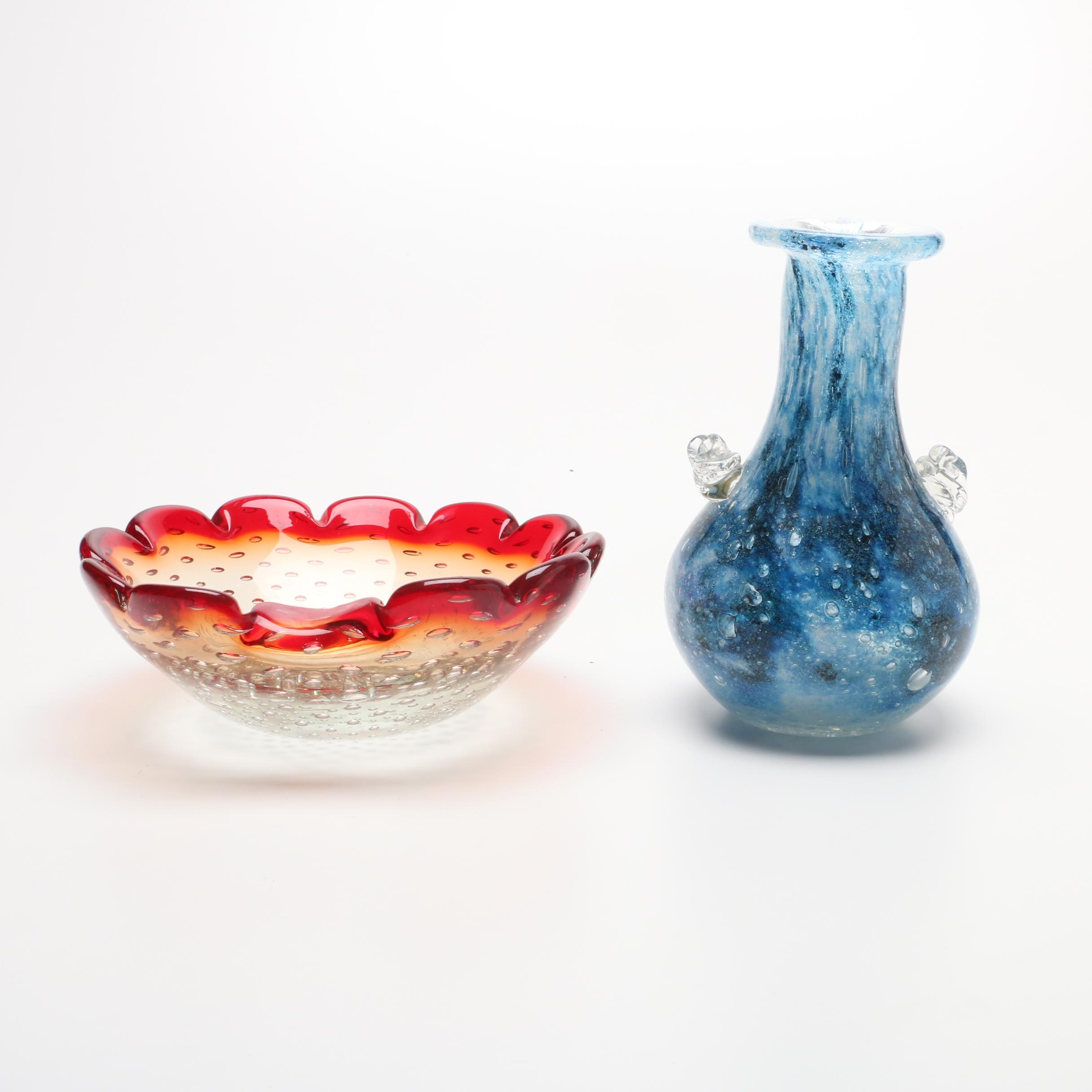 Mid Century Art Glass Vase and Bowl