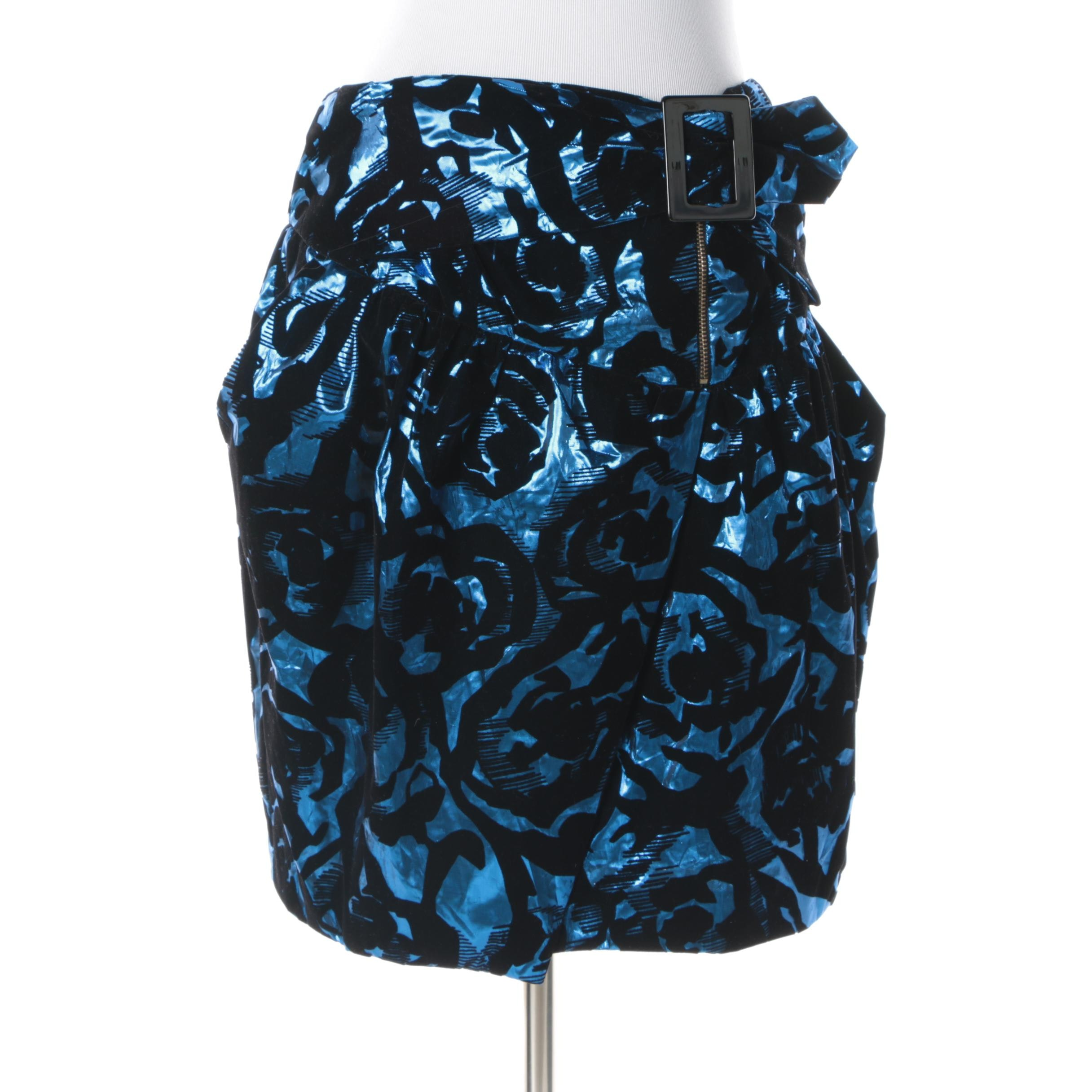 See By Chloé Metallic Blue and Black Skirt