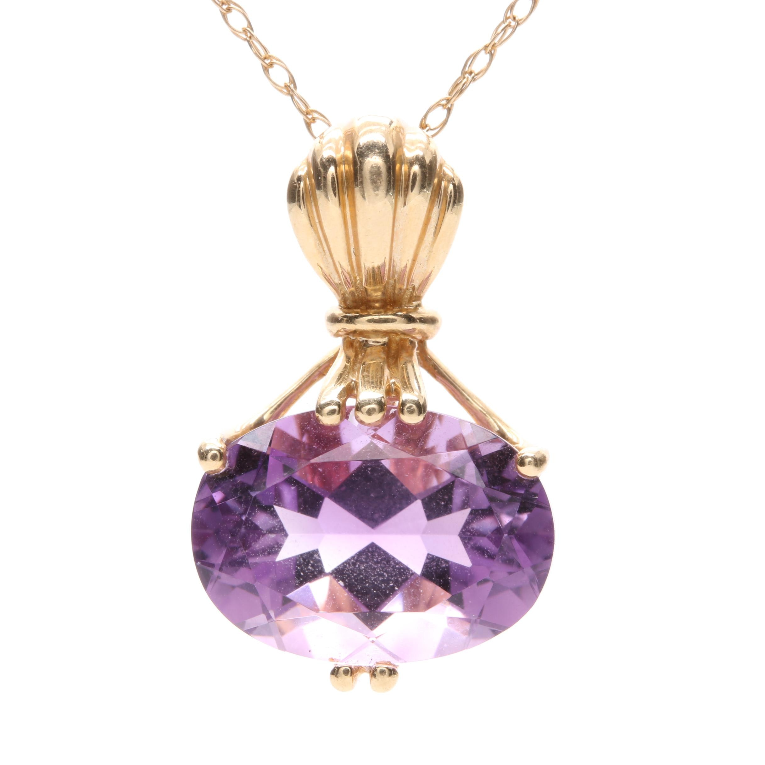 14K Yellow Gold Amethyst Pendant Necklace