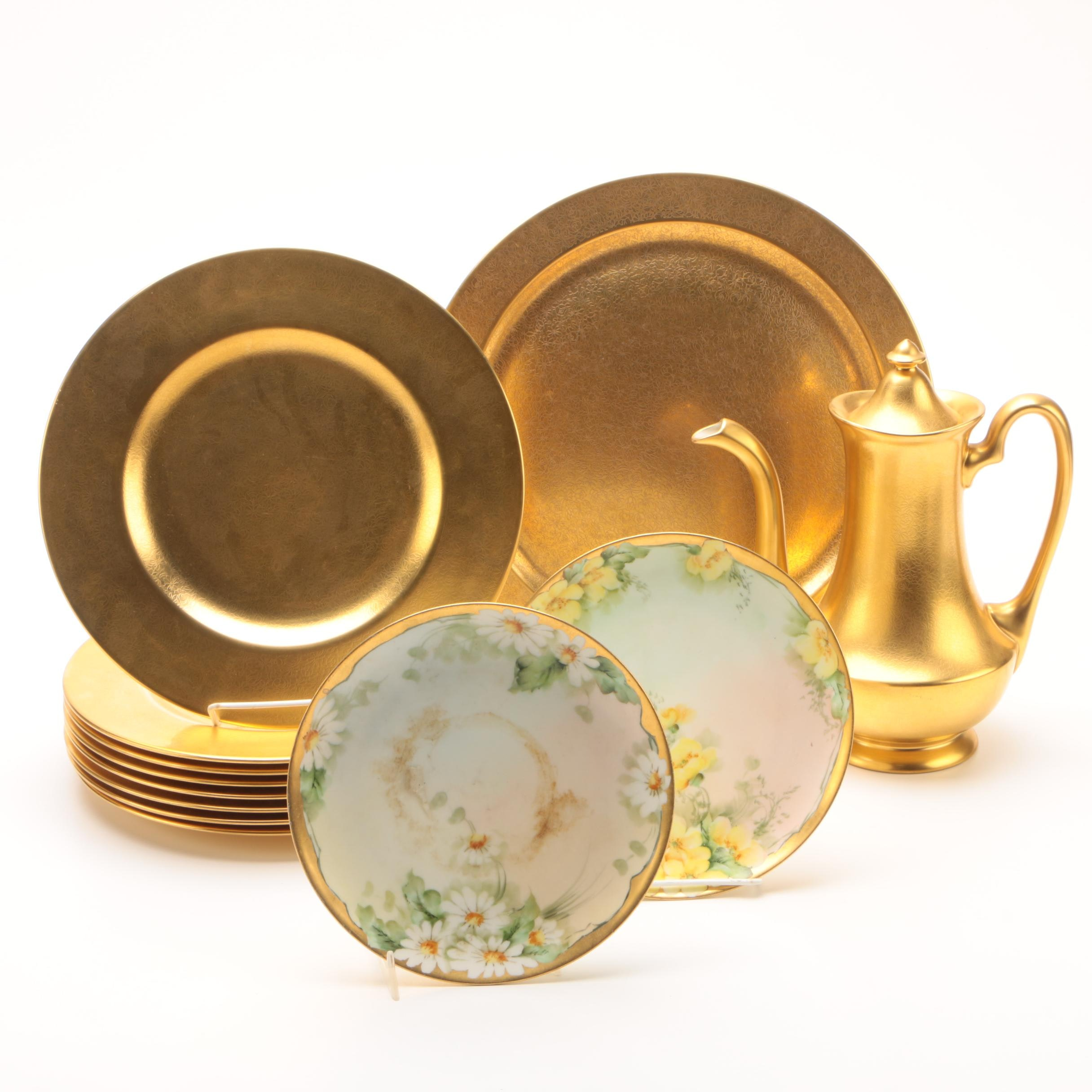 Gold Encrusted Pickard Tableware with Hobbyist Painted Haviland Plates