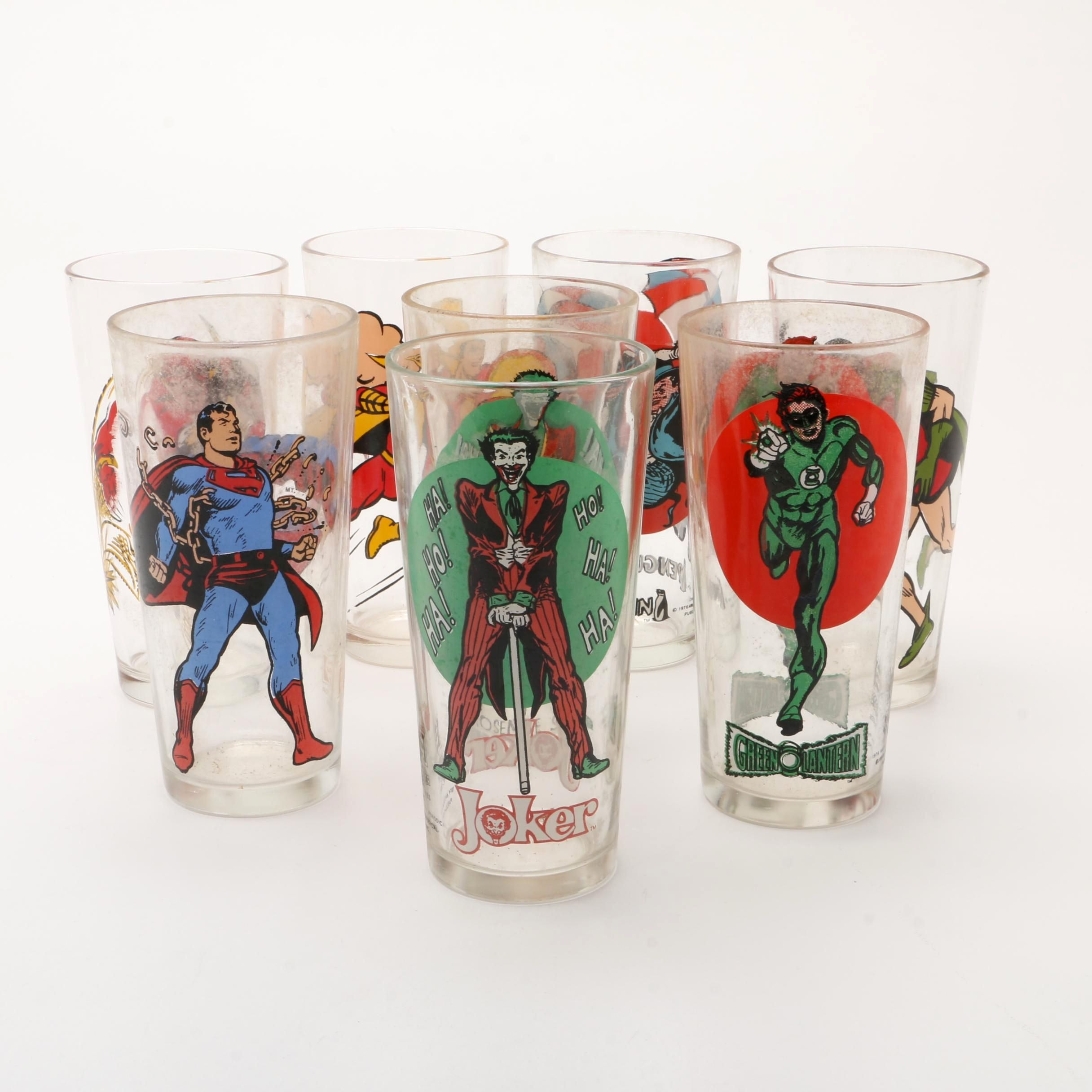 Vintage DC Comics Pepsi Collector's Series Glasses Featuring Superman