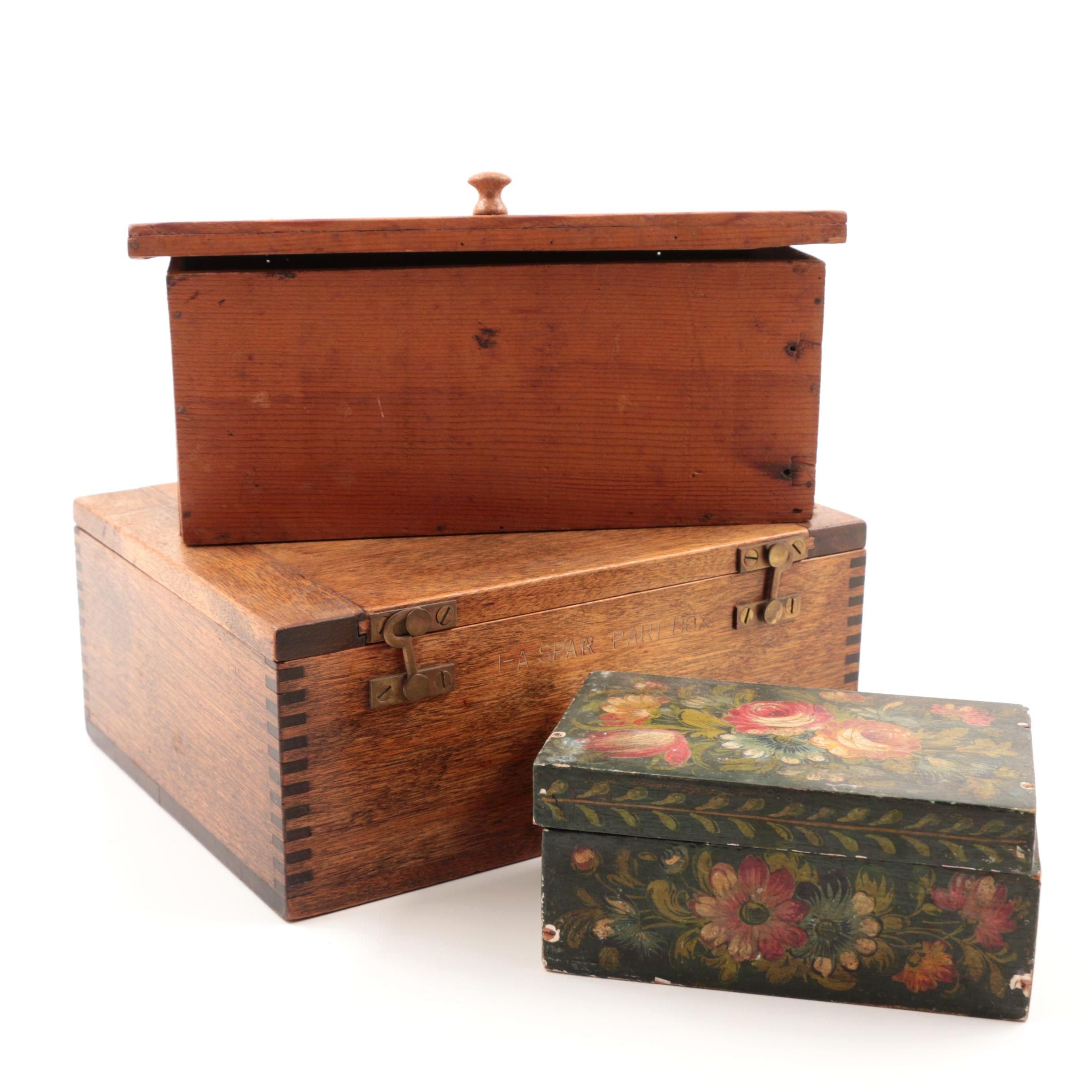 Vintage Handmade Wooden Storage and Trinket Boxes
