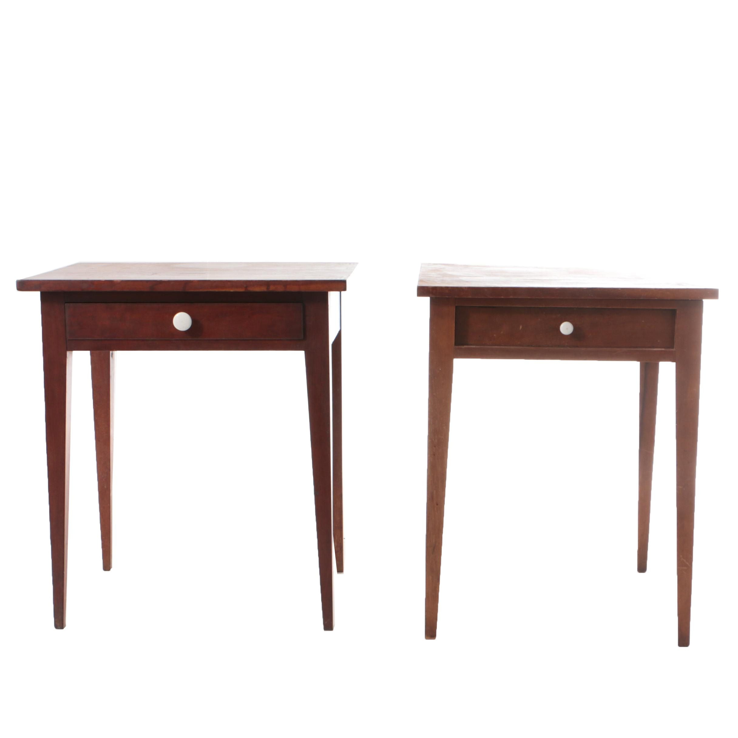 Antique Country Hepplewhite Cherry Side Tables