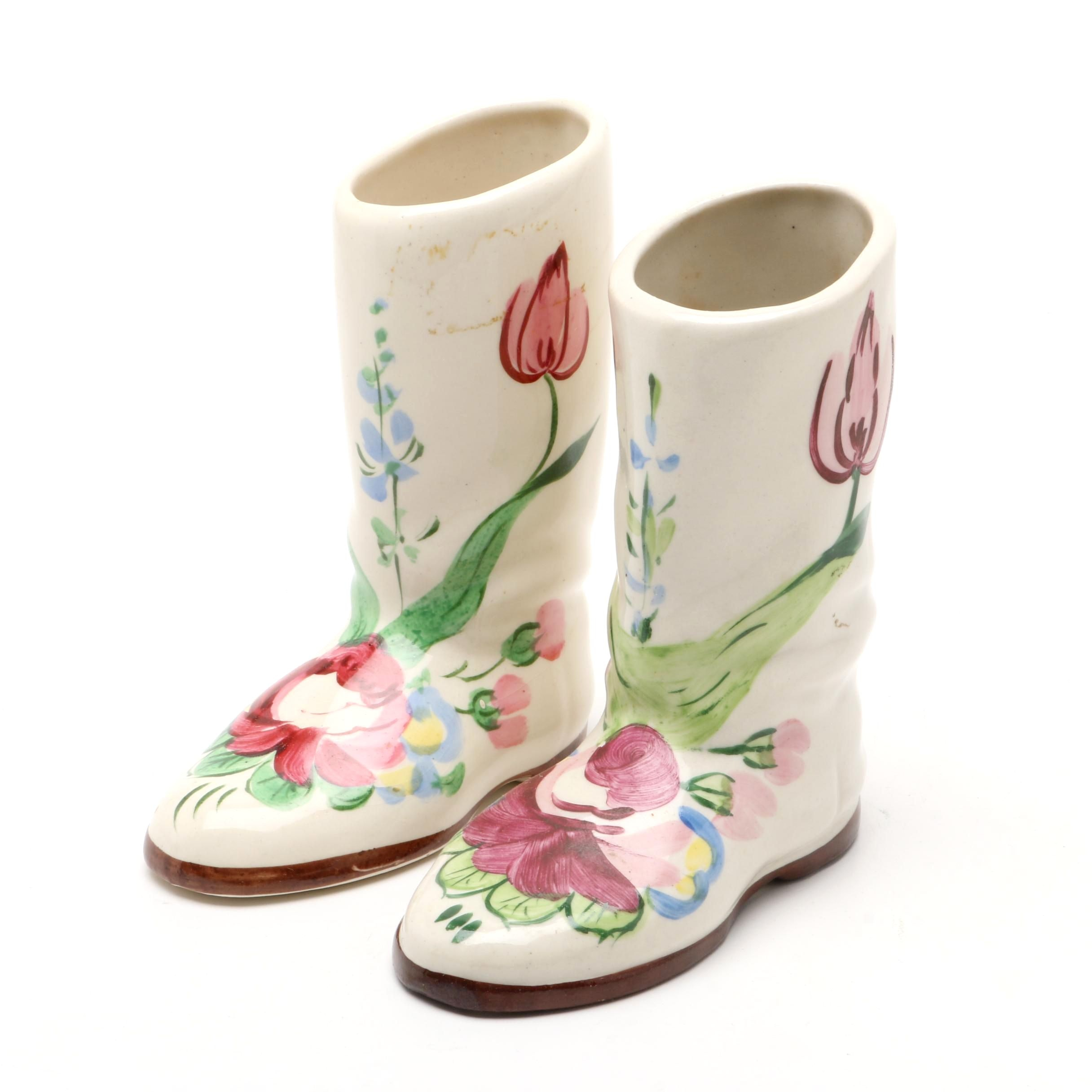 Vintage Hand-Painted Ceramic Boot Vases in the Style of Blue Ridge Pottery