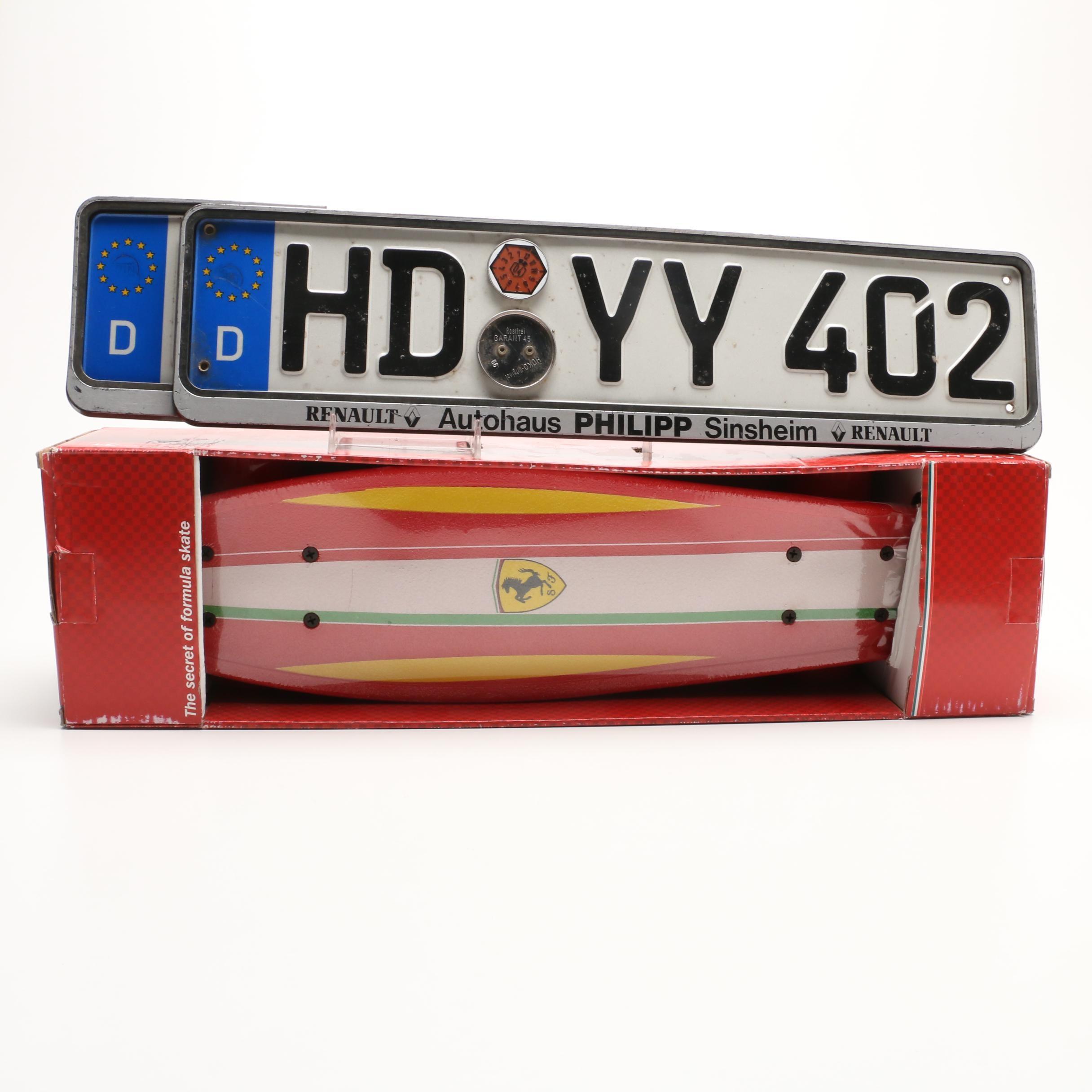 Pair of European Union Automotive Liscence Plates and Mecusa Ferrari Skateboard