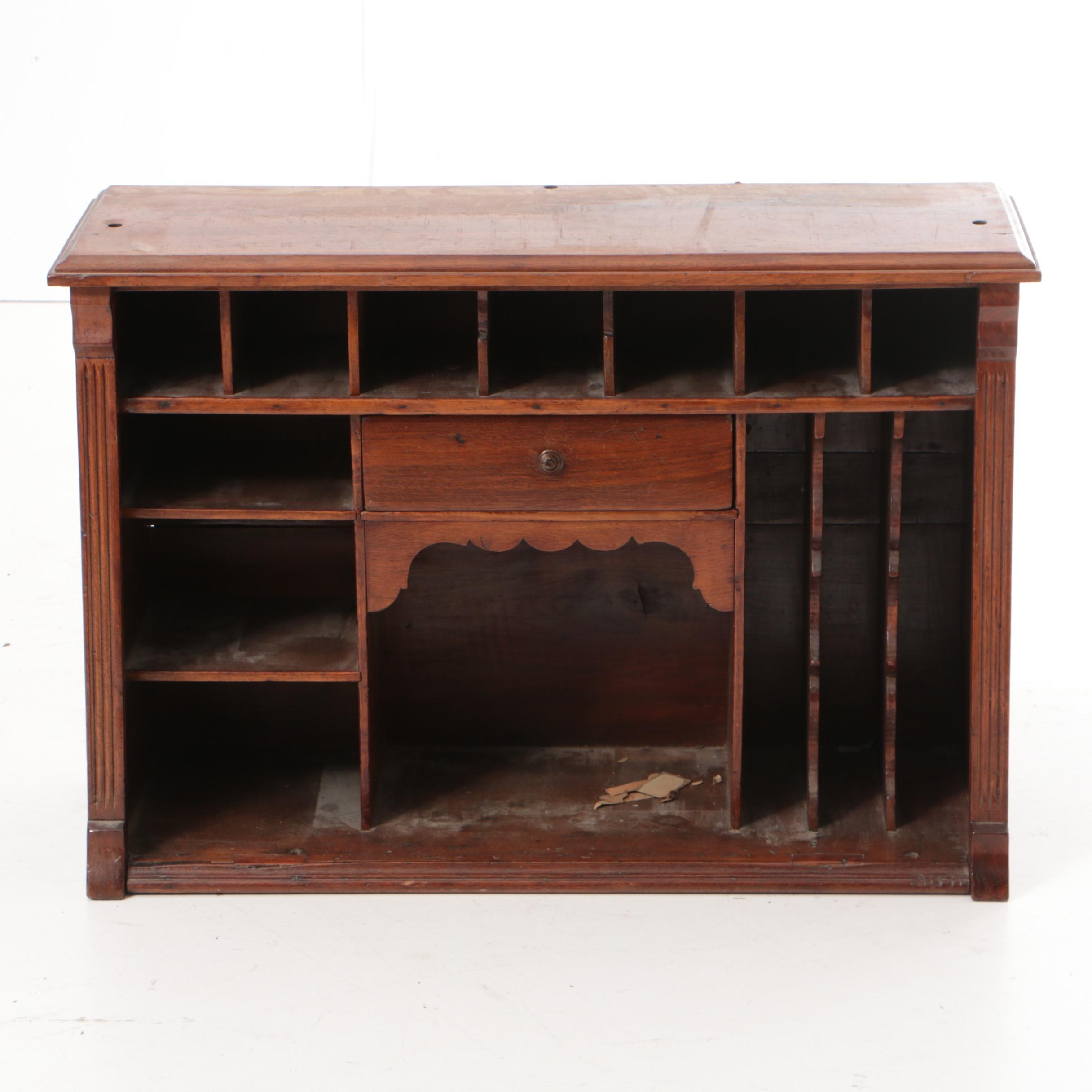 Antique Victorian Walnut Desk Organizer