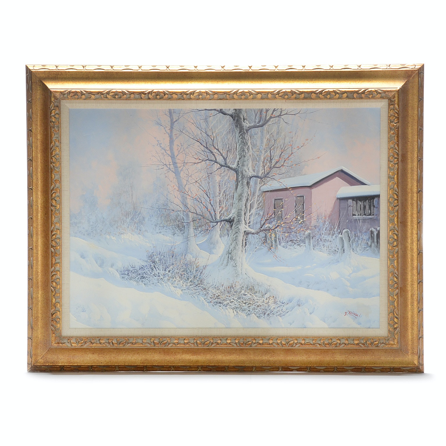 G. Rizzi Winter Landscape Oil on Canvas Painting
