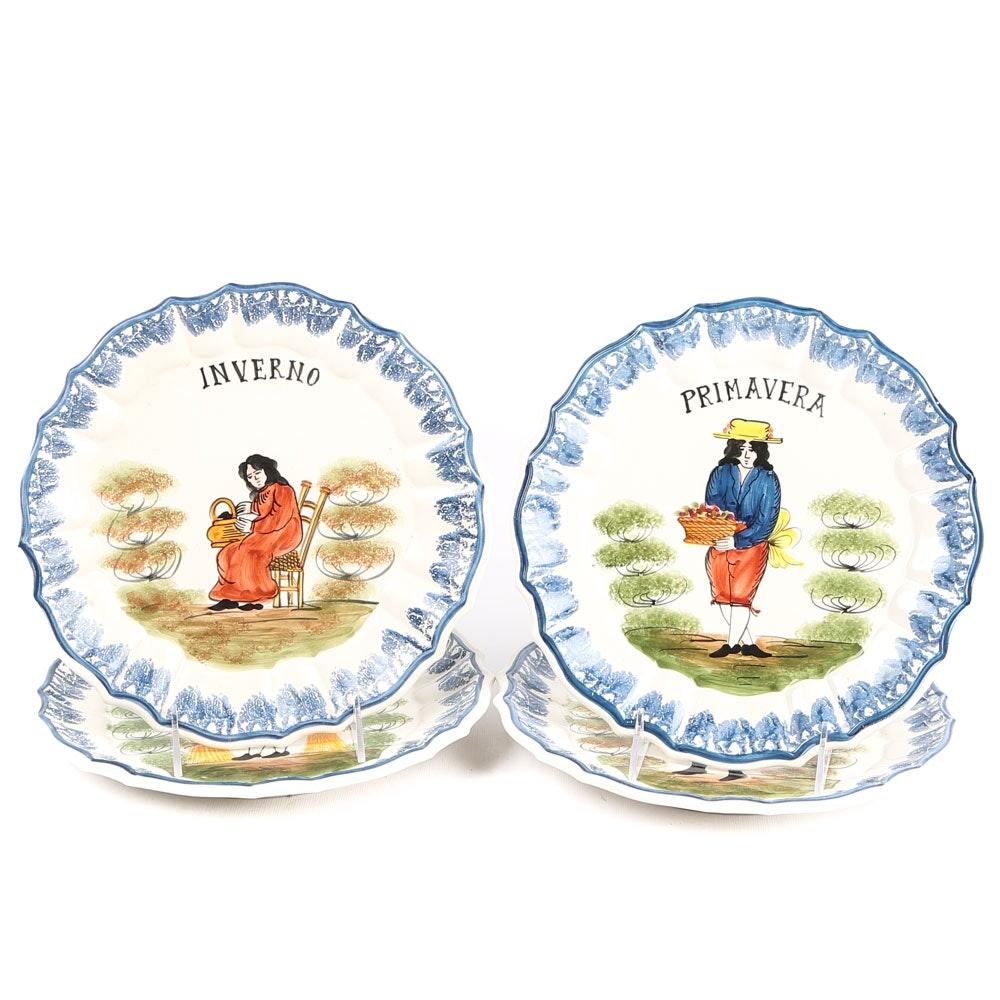Hand-Painted Italian Four Seasons Faience Glazed Ceramic Wall Plates