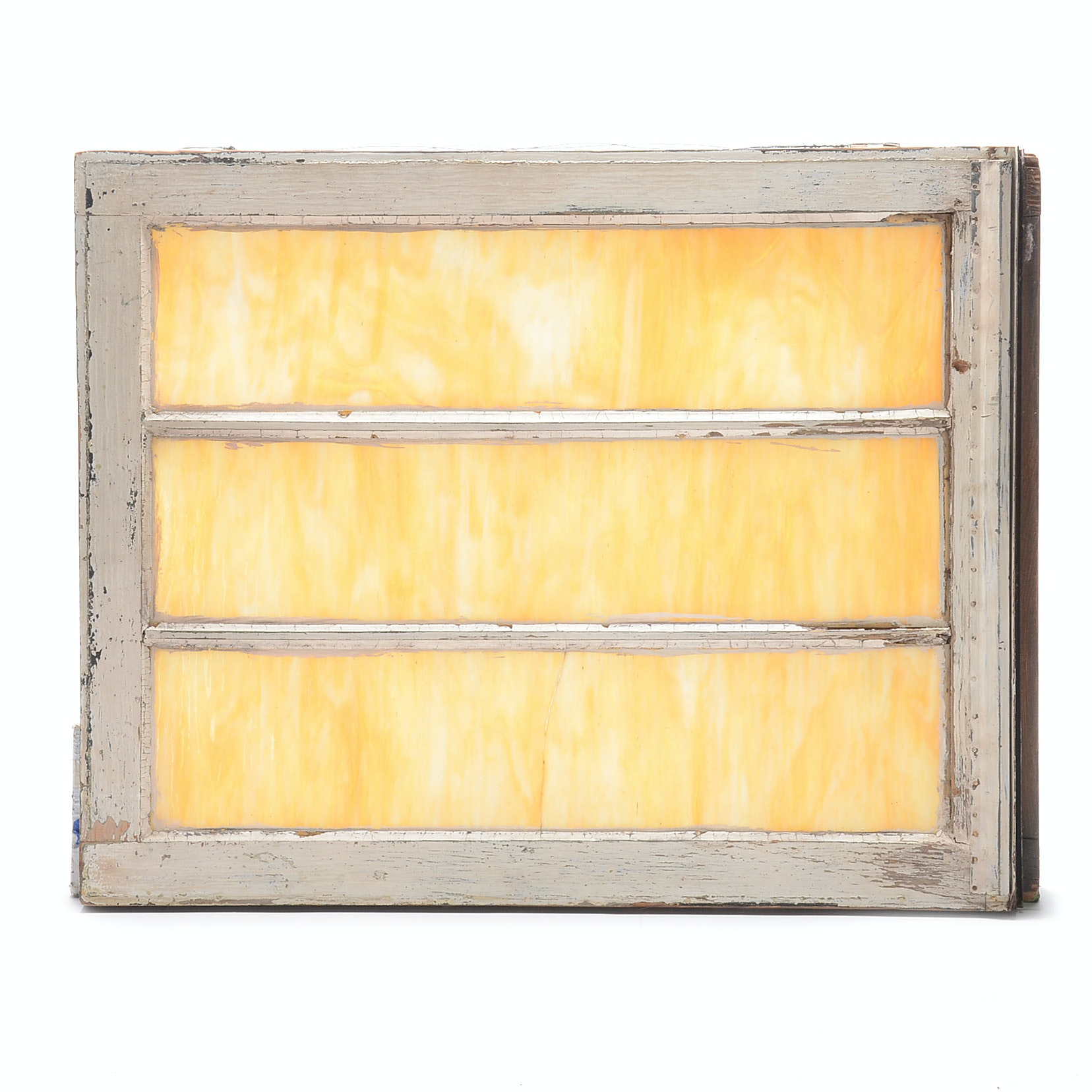 Vintage Slag Glass Three-Panel Window