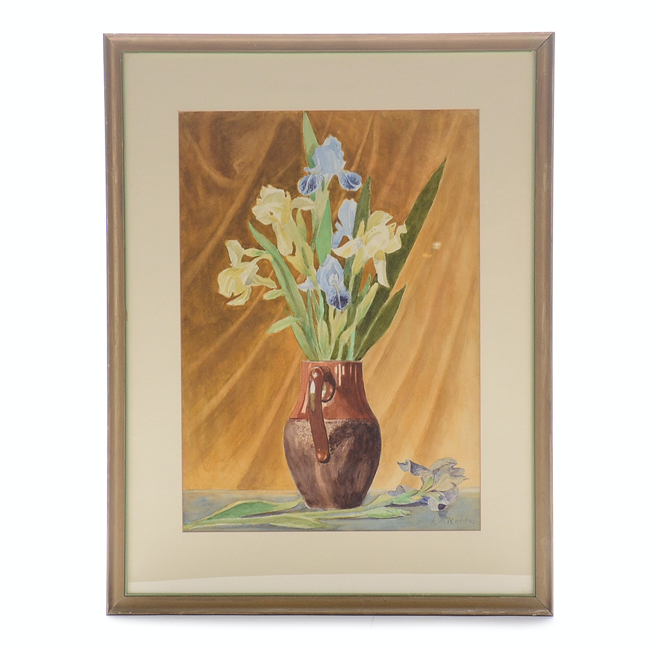 Frederick William Kolde Watercolor Painting of Still Life with Iris Flowers