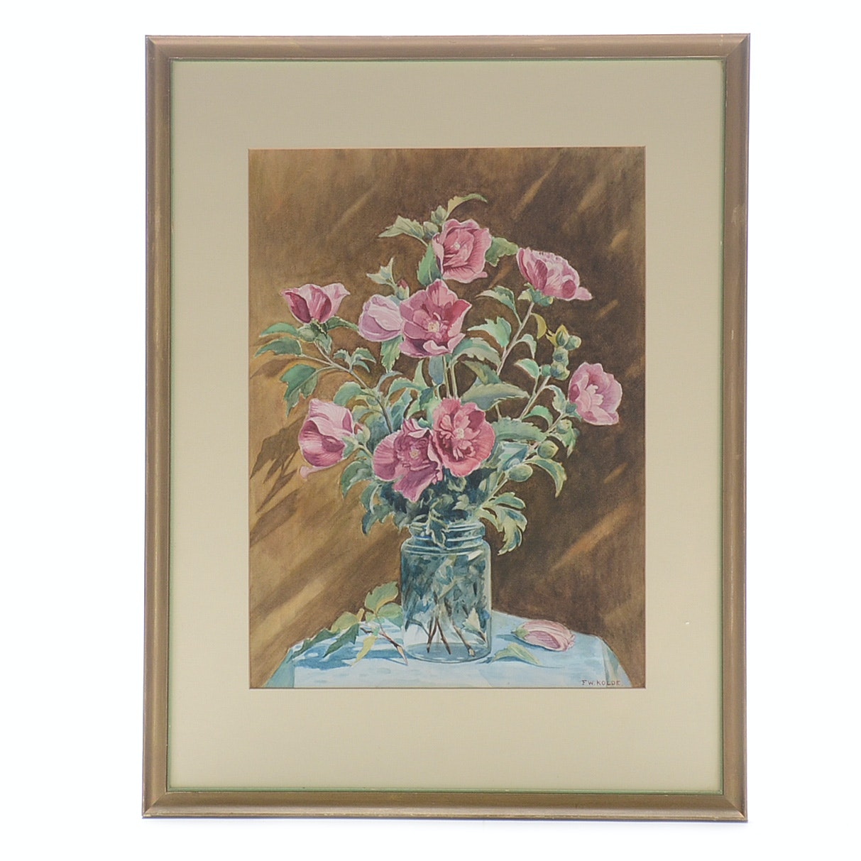 Frederick William Kolde Original Watercolor Painting of Still Life with Flowers