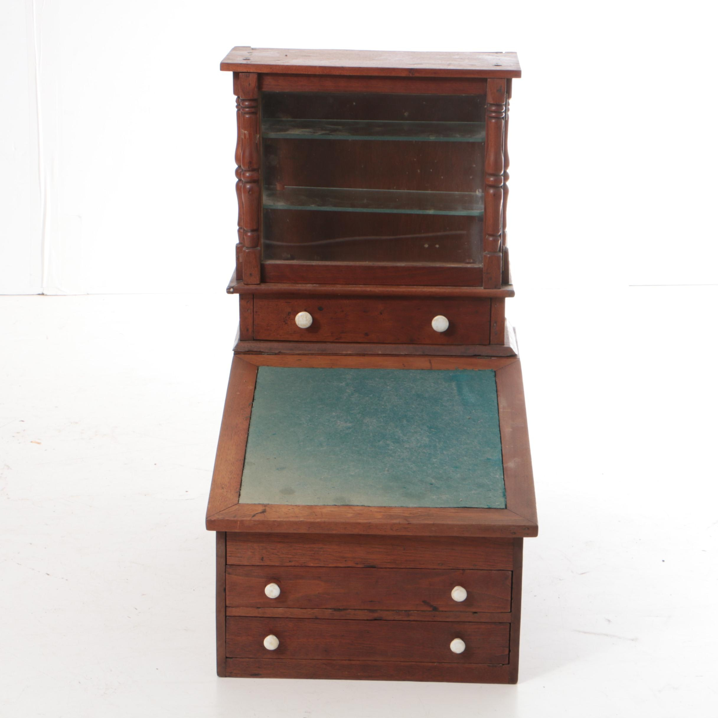 Antique Walnut Tabletop Desk with Gallery Cabinet